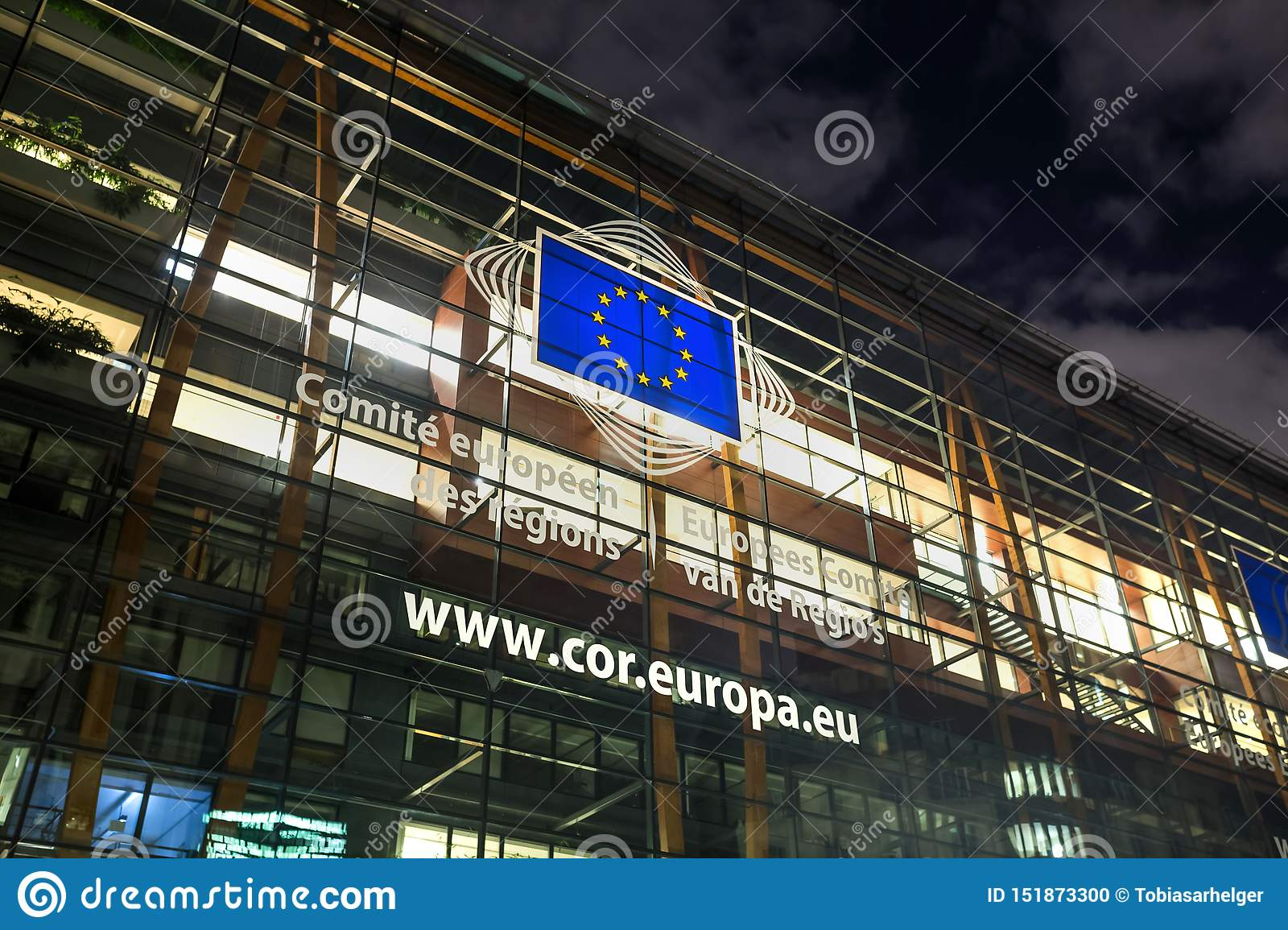 European committee building in brussels belgium at night