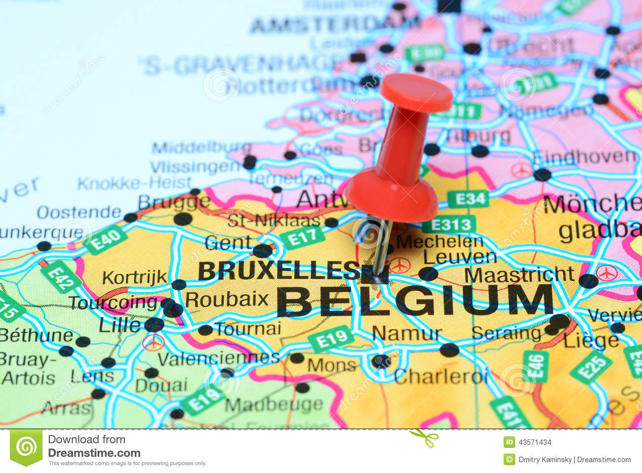 Brussels Pinned On A Map Of Europe Stock Photo Image of