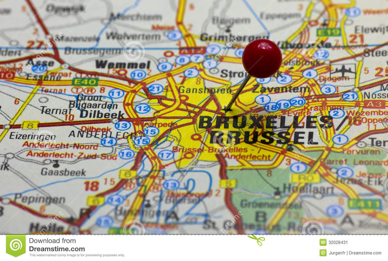 Brussels Pointed With Red Push Pin Stock Image - Image of place ...