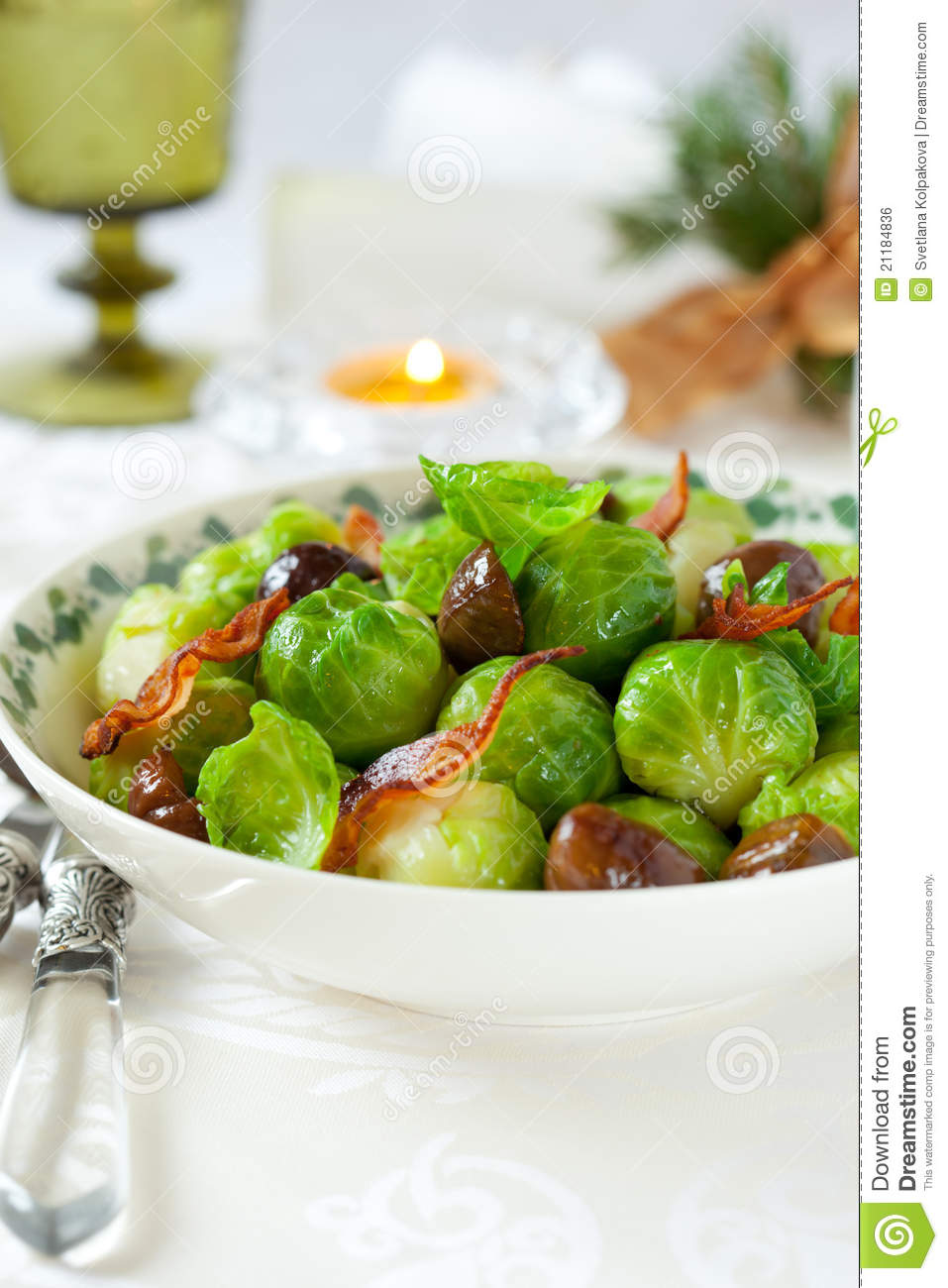 Brussels Sprouts With Bacon And Chestnuts Royalty Free ...