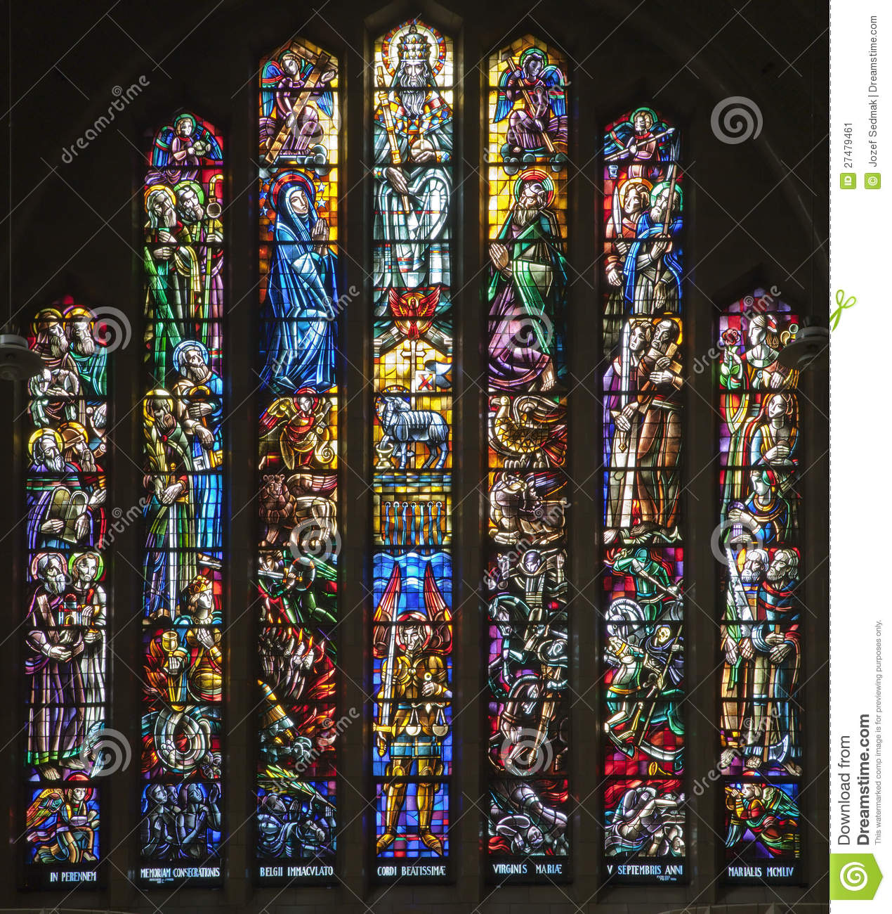 Download Brussels - Windowpane From Chorus Of Basilica Stock Image - Image of architecture, saint: 27479461