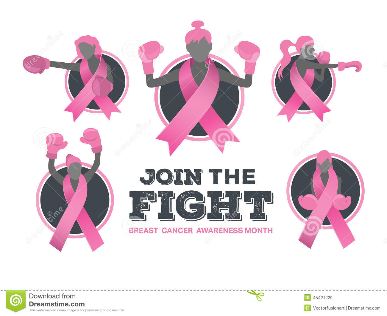 Brustkrebs-Bewusstseinsvektor mit kämpfenden Mädchen