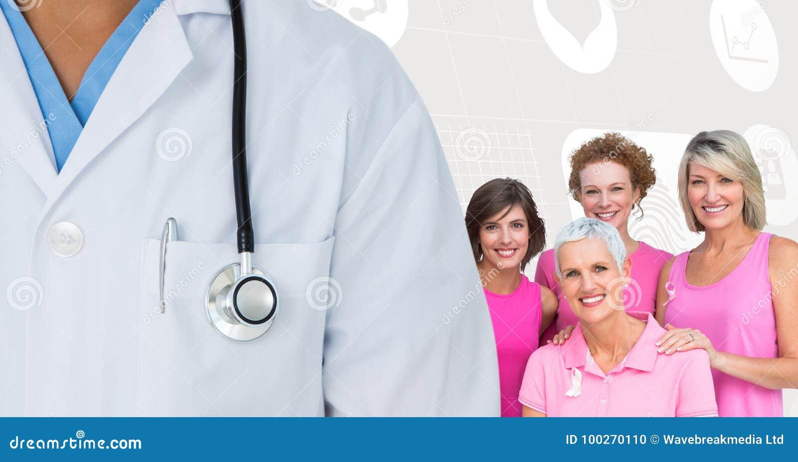 Brustkrebsdoktor und -frauen mit rosa Bewusstseinsbändern