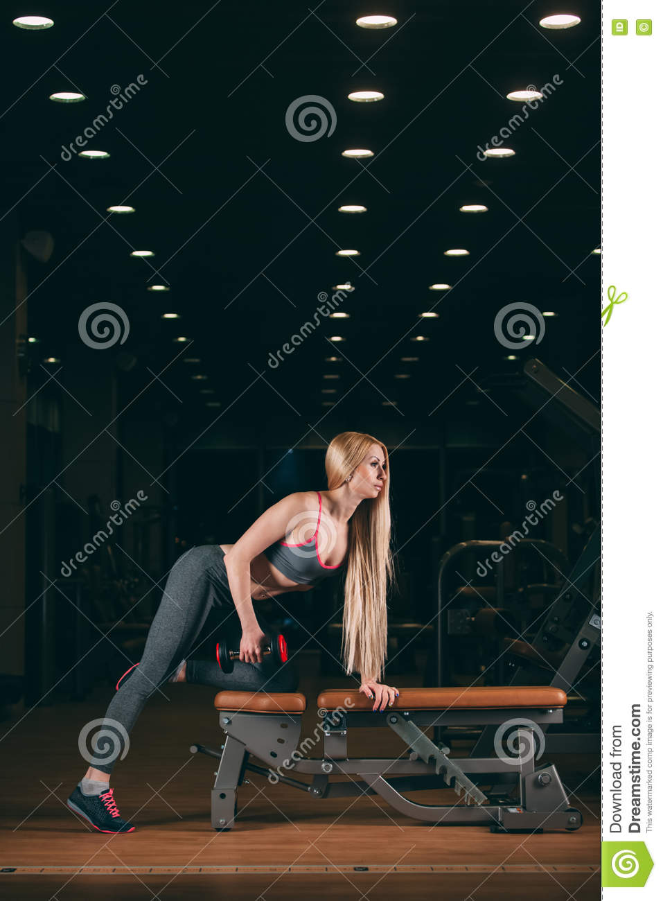 Brutal athletic woman pumping up muscles with dumbbells in gym