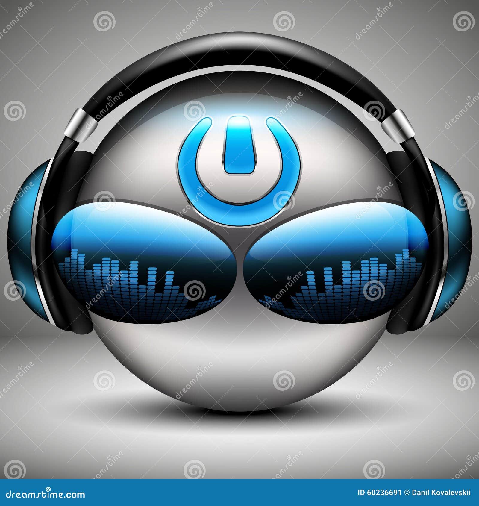 Brutal DJ music smiley with headphones