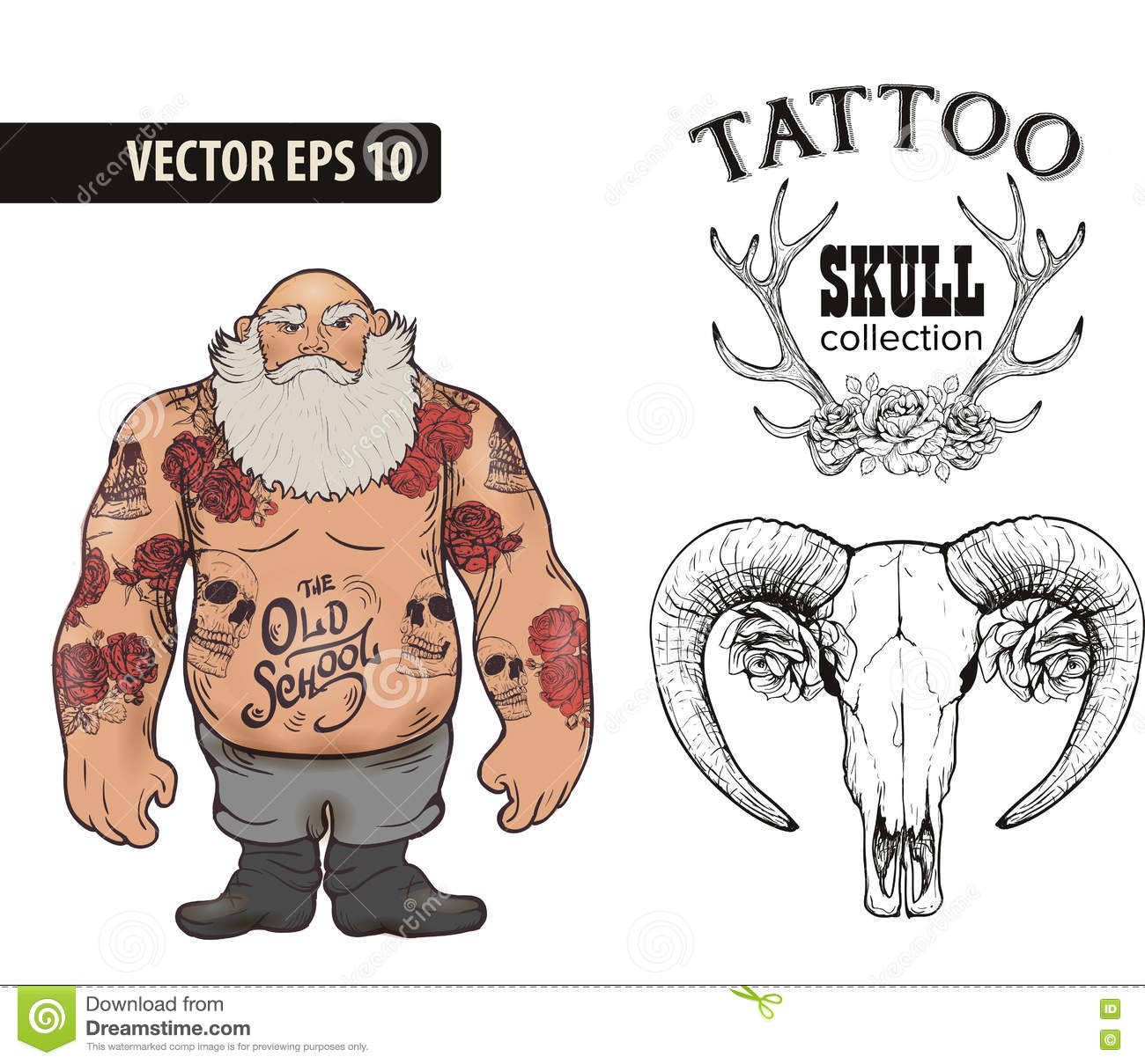118c5c3fd723a Tattoo art design. New traditional tattoo style. Hand-drawn vector images.  Good for printing on t-shirt. Easy to edit. Tattoo font.