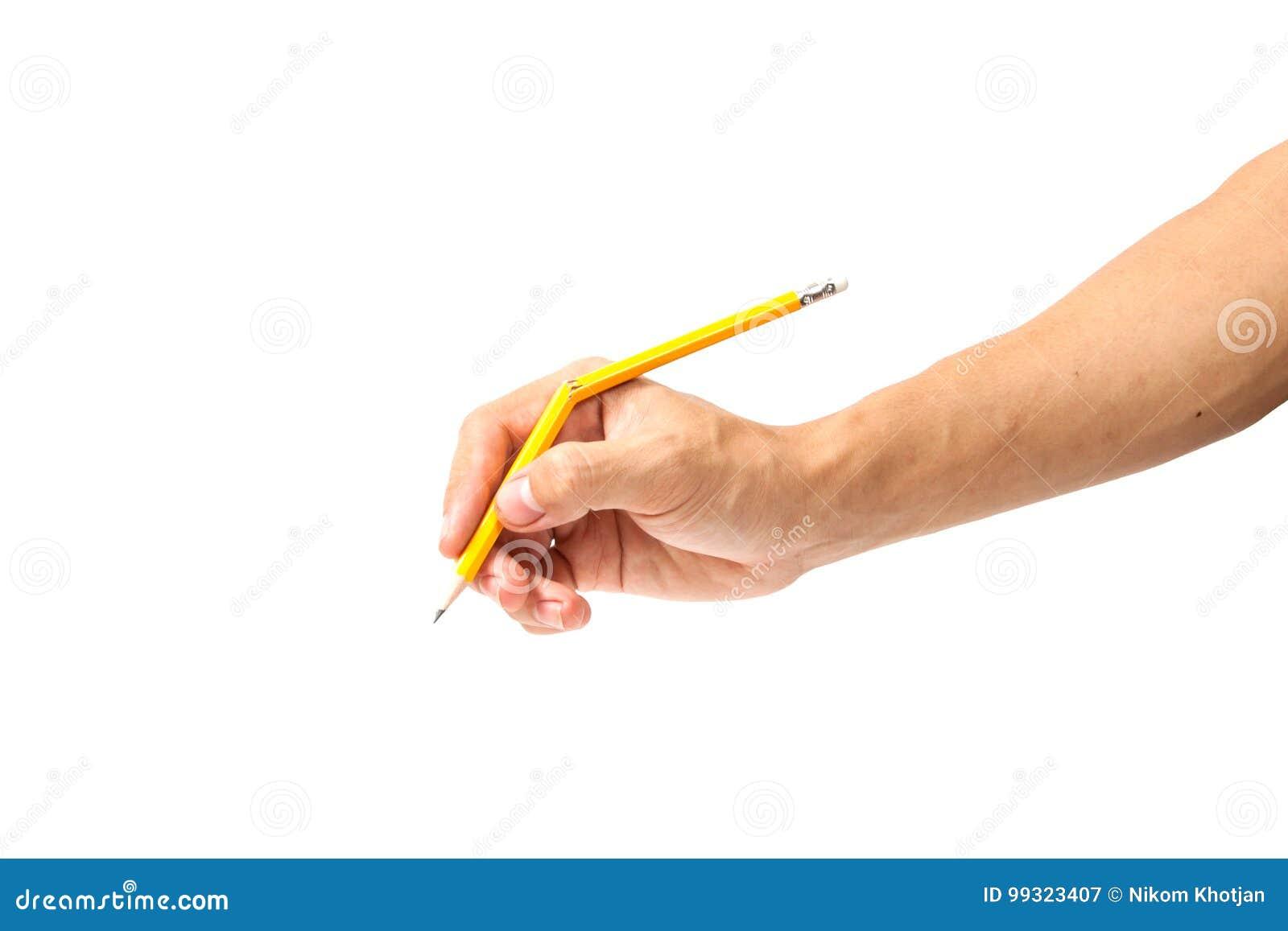 Bruten blyertspenna på vit bakgrund