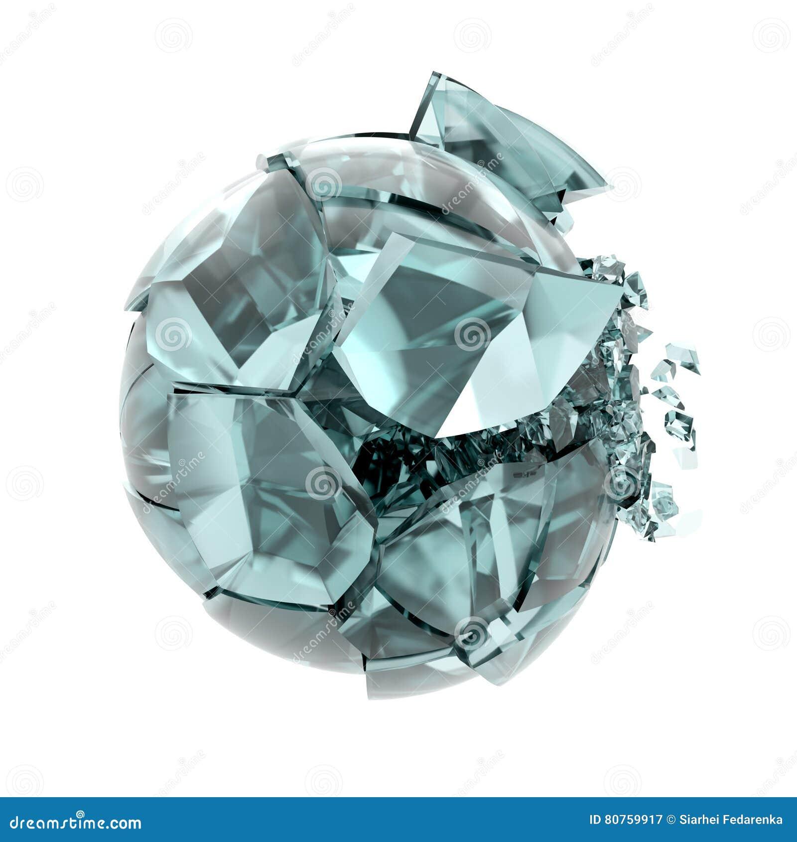 Bruten glass boll