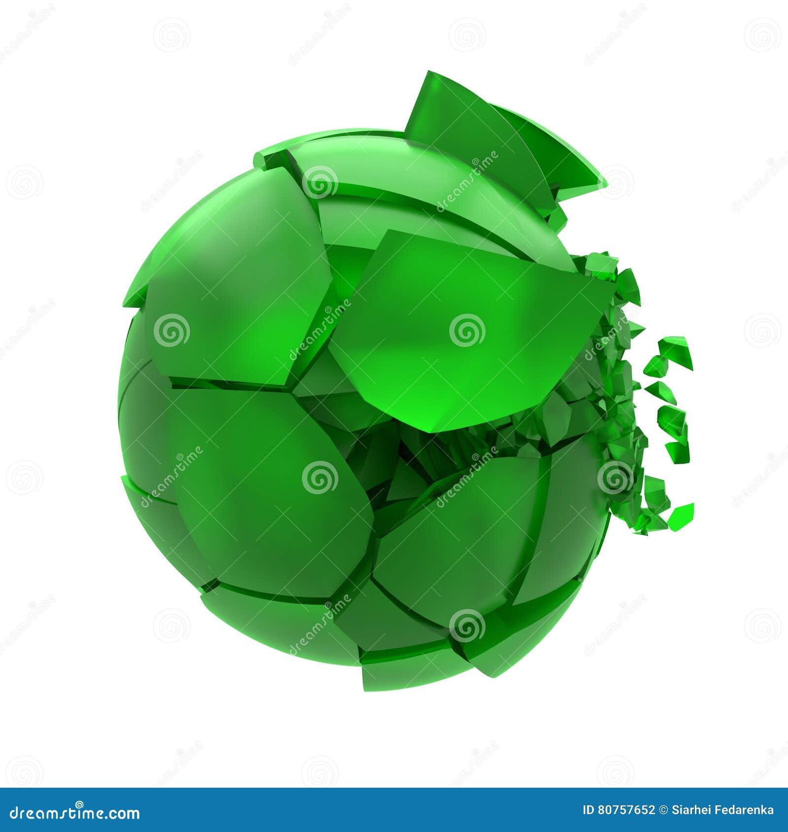 Bruten grön glass boll