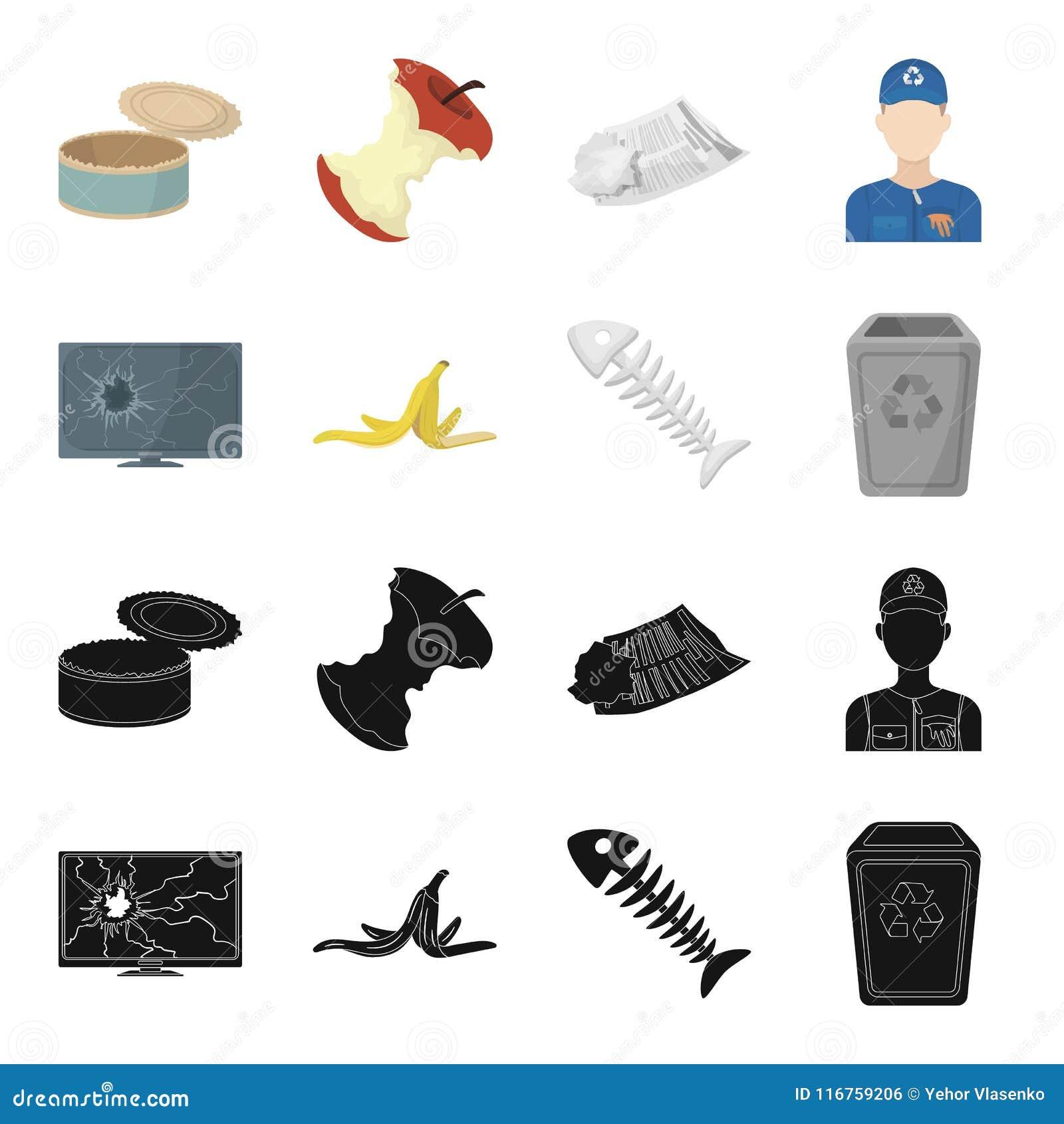 Bruten TVbildskärm, bananpeel, fiskskelett, avskrädefack Fastställda samlingssymboler för avskräde och för avfall i svart, teckna