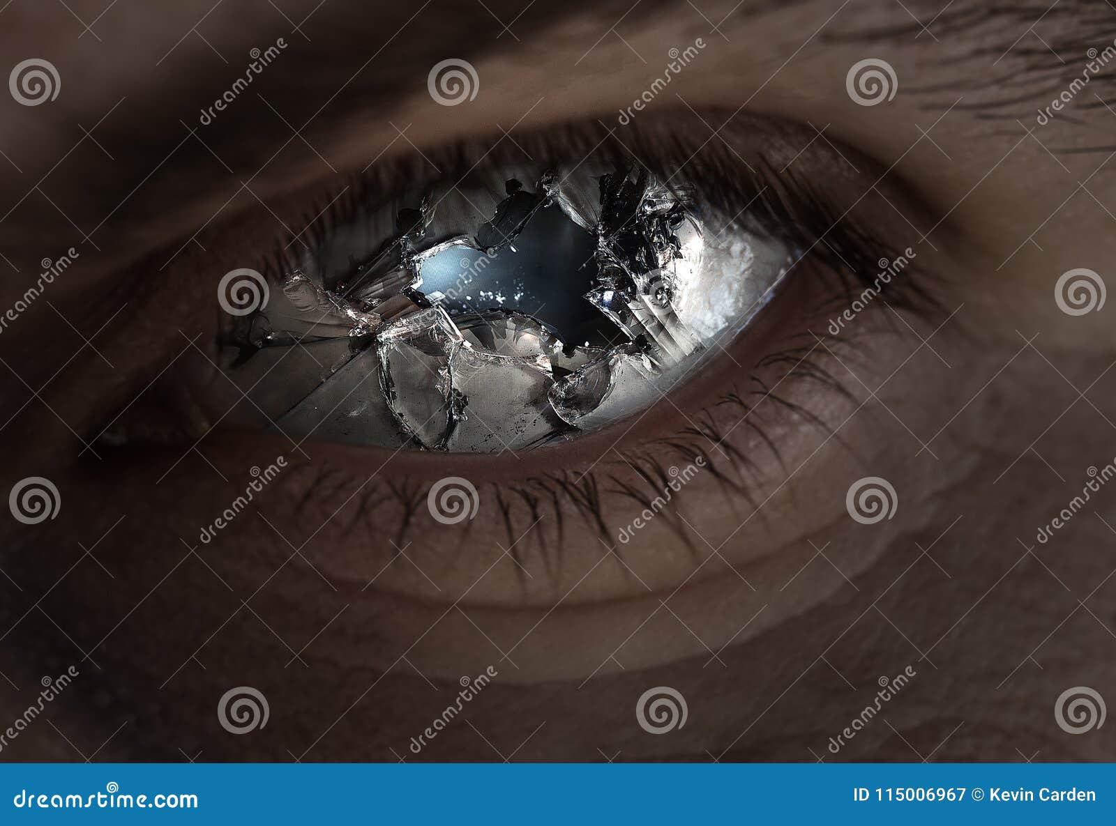 Brutet öga och exponeringsglas
