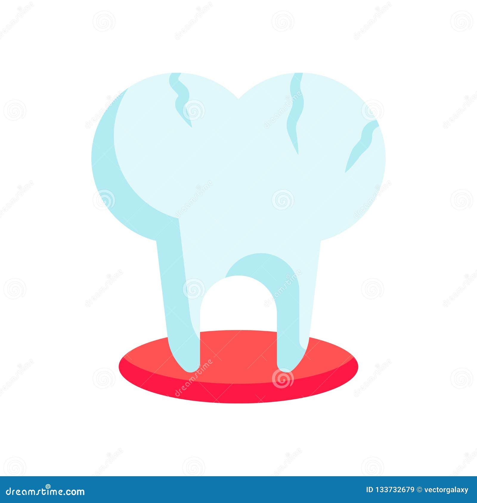 Brutet tecken och symbol för tandsymbolsvektor som isoleras på vit backg