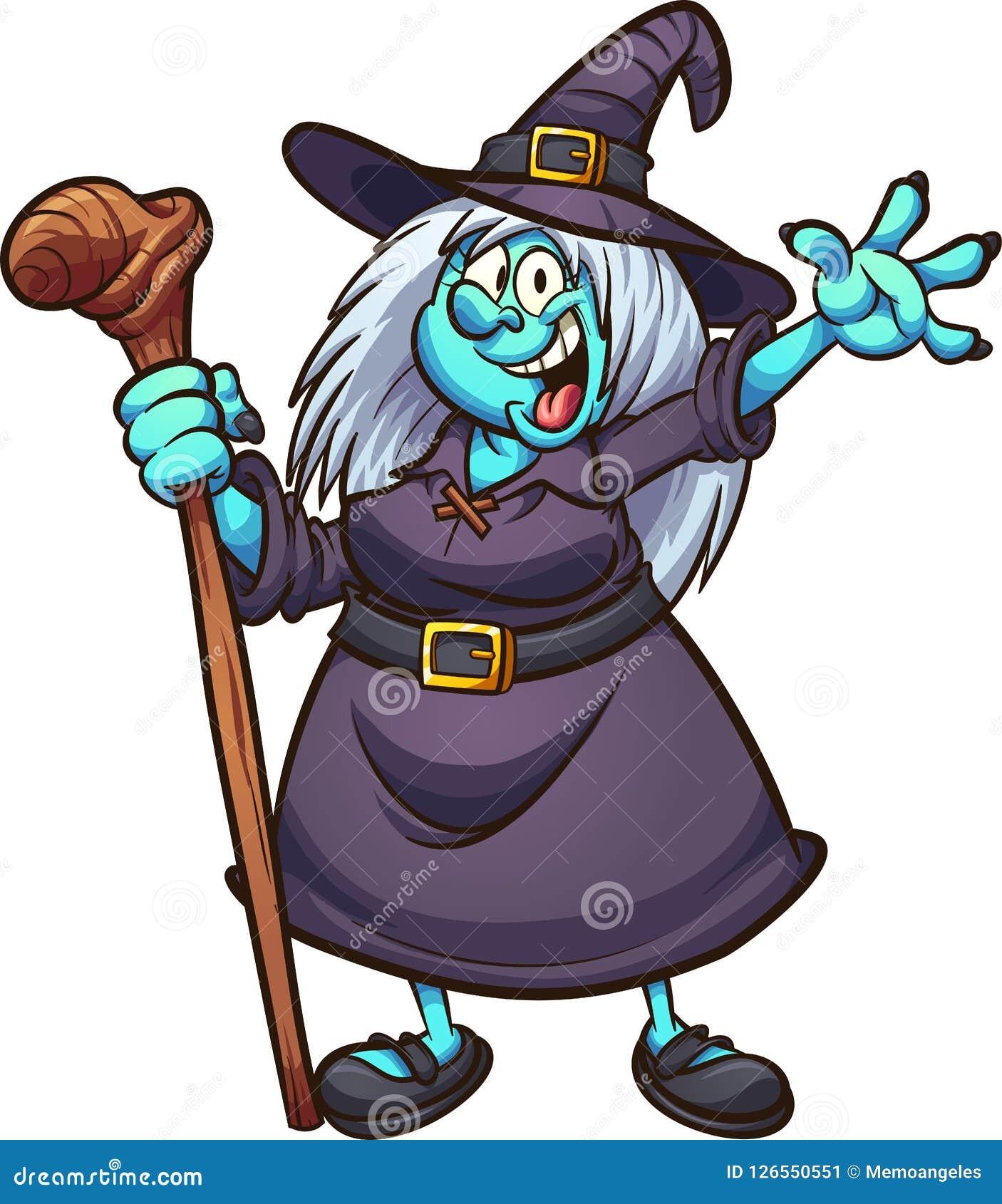 Bruxa Gorda Feliz Dos Desenhos Animados Ilustracao Do Vetor