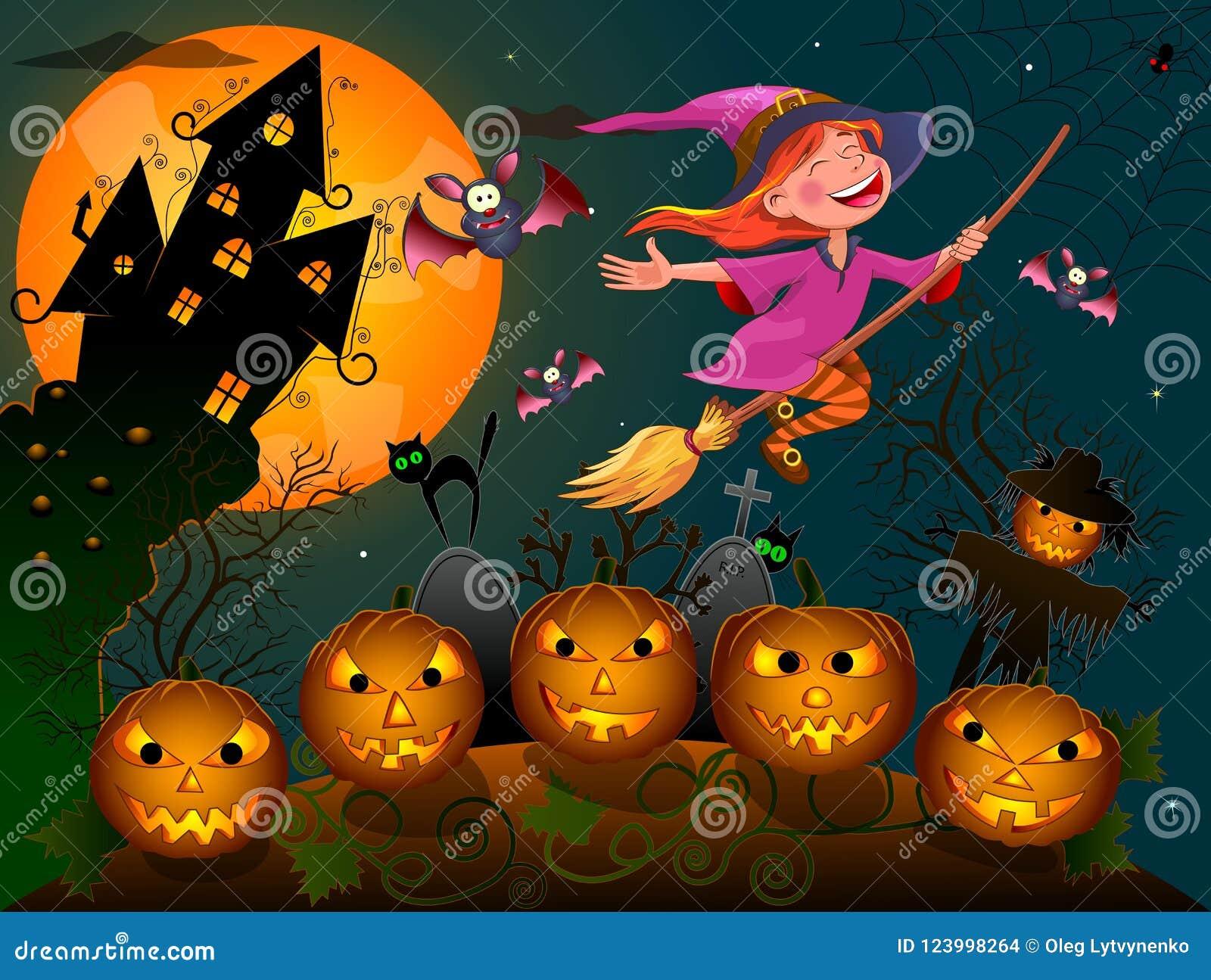 Bruxa Pequena 1 De Dia Das Bruxas Noite Em Halloween Ilustracao Do
