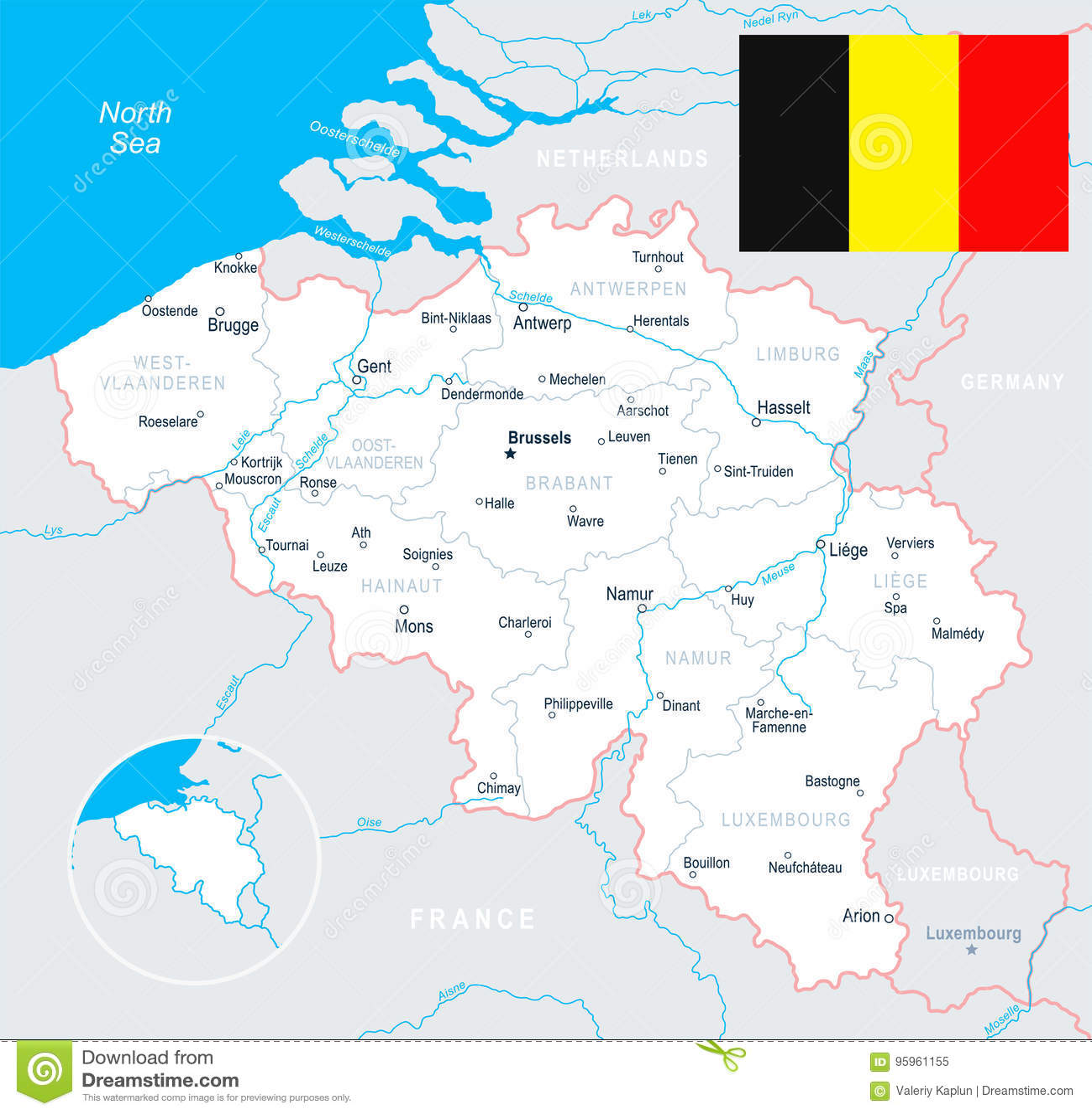 Bruxelas Antuerpia Senhor Bruges Ilustracao Do Mapa E Da