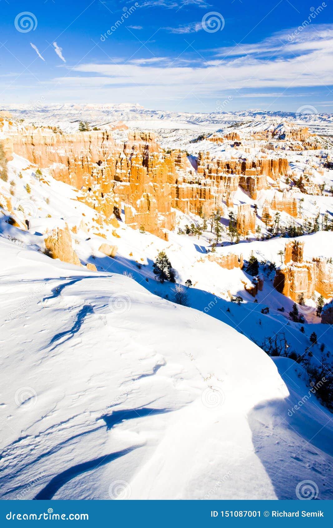 Bryce Schlucht-Nationalpark im Winter, Utah, USA