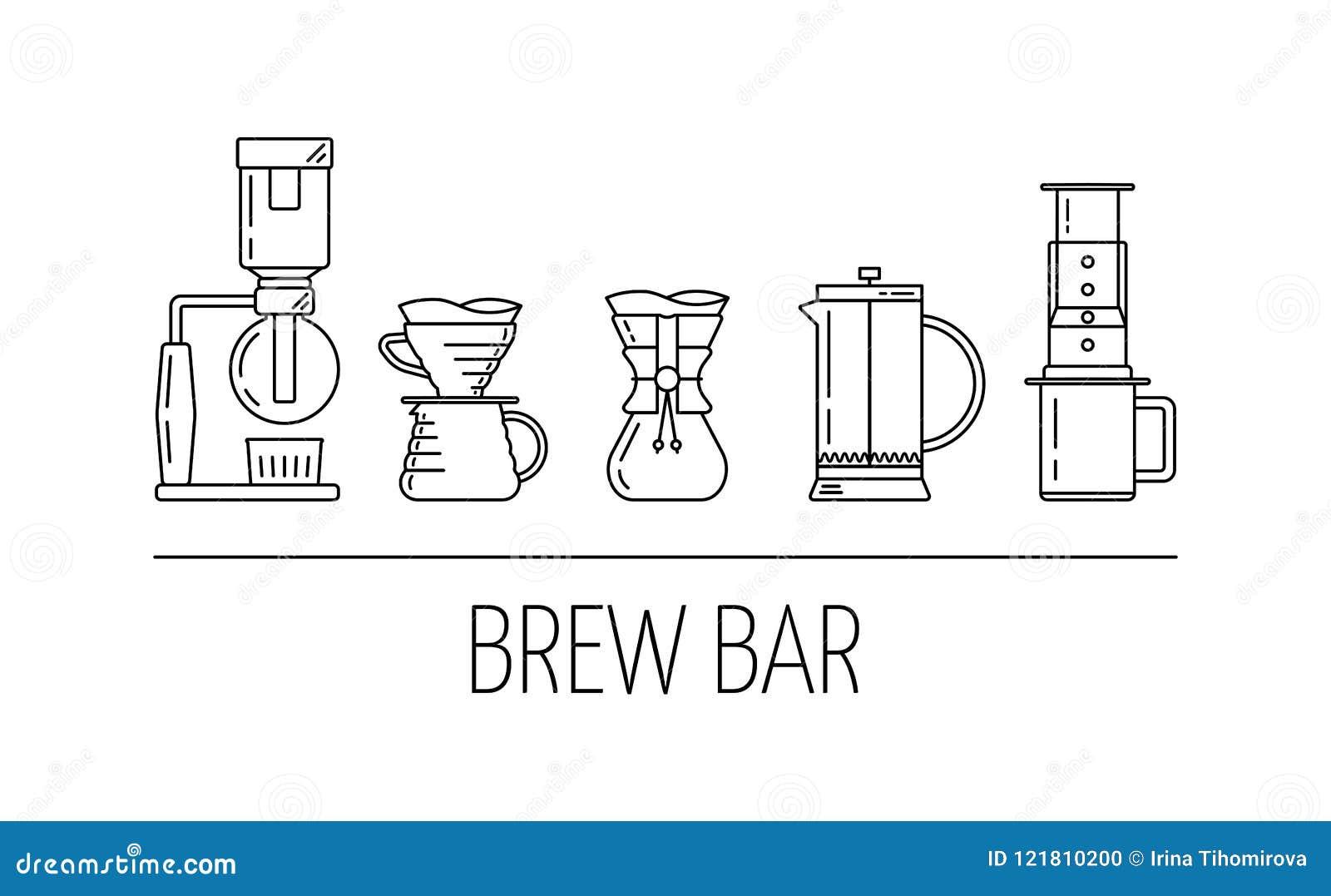 Brygdstång Ställ in vektorsvartlinjen symboler av kaffe som bryggar metoder Häverten häller över, chemex, fransk press, aeropress