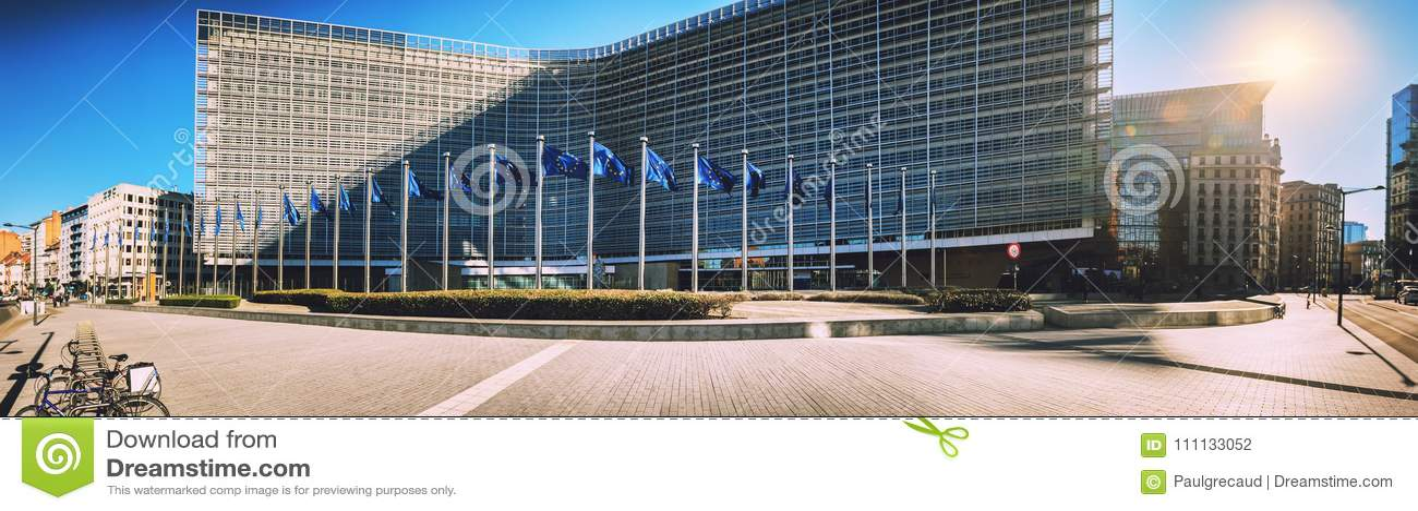 Bryssel Belgien - 25 Februari 2018: Europeiska kommissionen Headqu