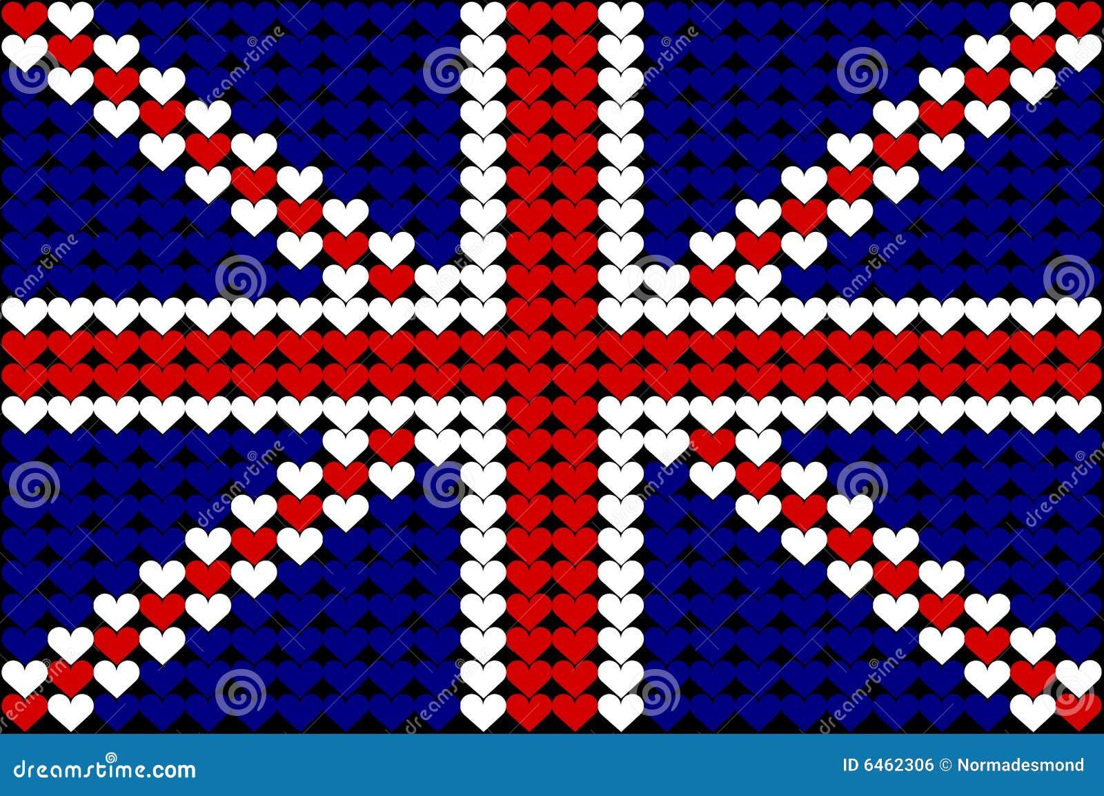 Brytania bandery serce świetnie