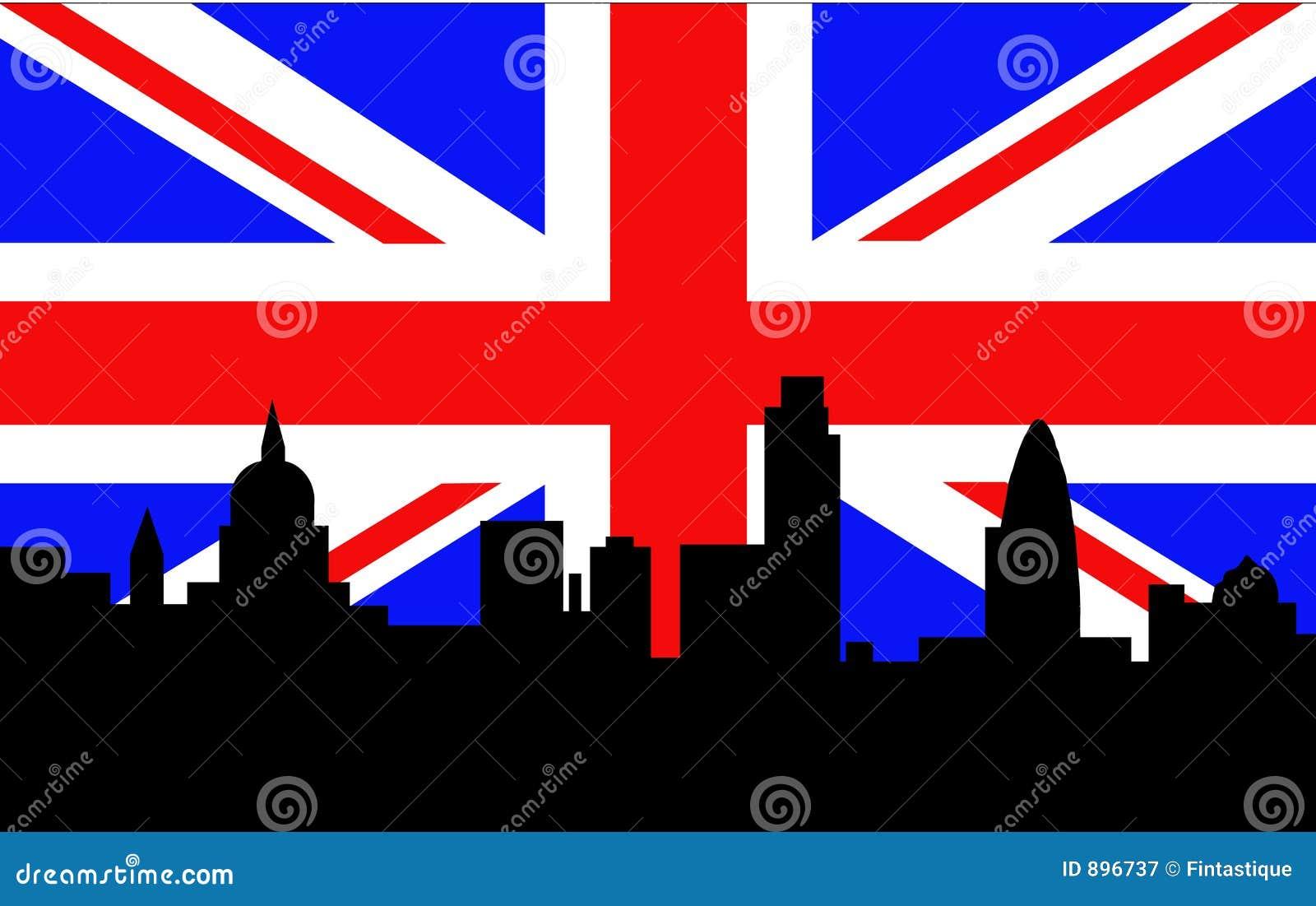 Brytyjska London bandery linia horyzontu
