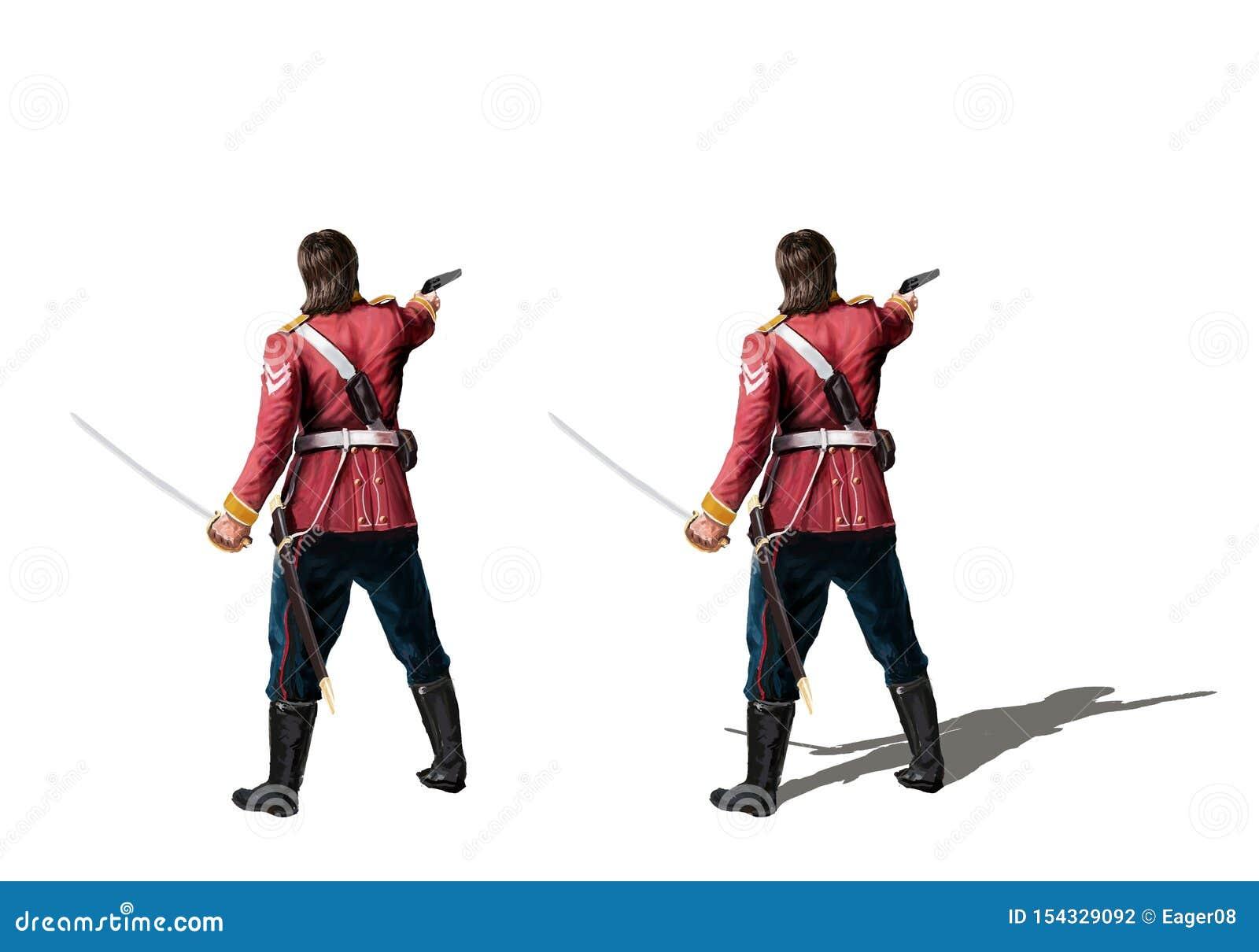 Brytyjski kolonialny żołnierz z kordzikiem i pistoletem