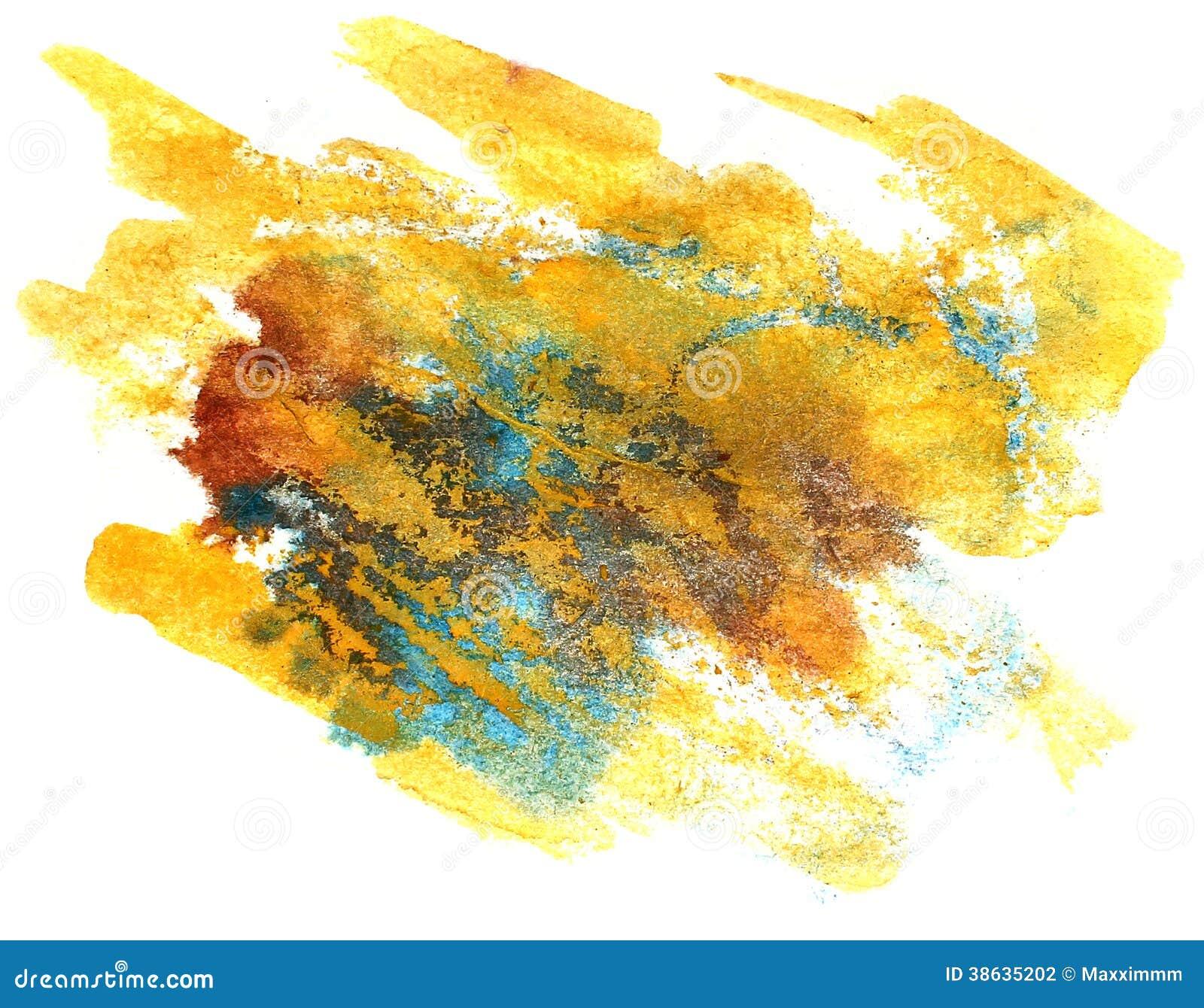 Bryzga błękit, żółty farba kleksa watercolour koloru wody atramentu isola
