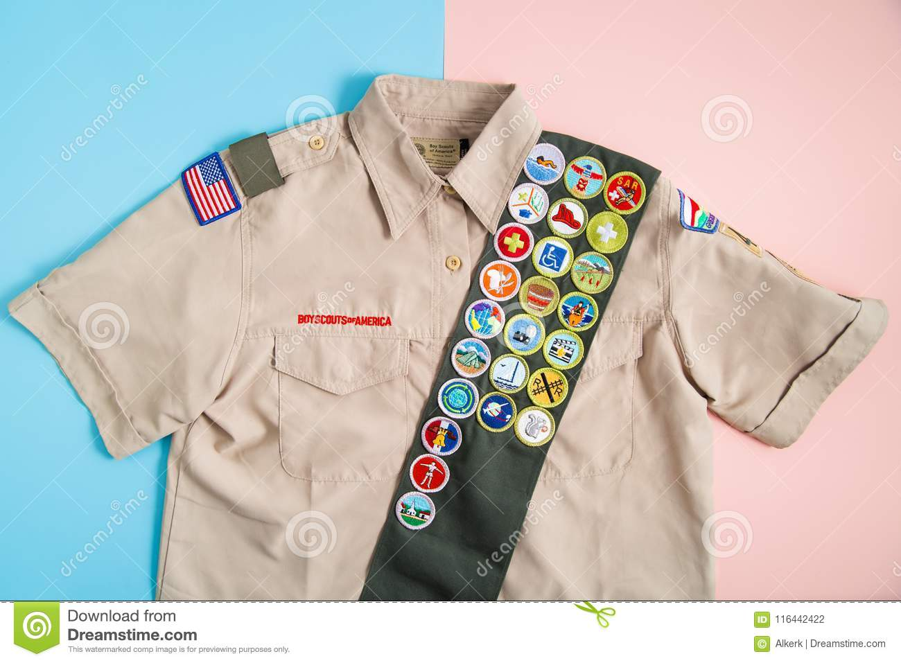 BSA Uniform On Pink And Blue Editorial Photography - Image of scouts