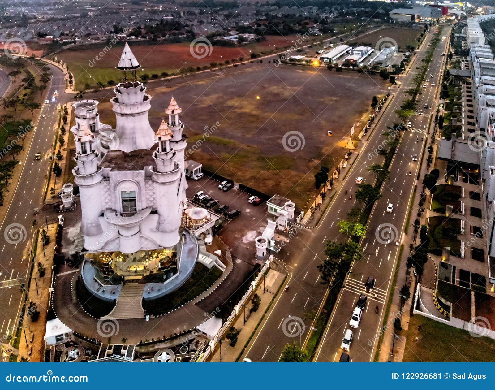 BSD Tangerang miasta widok z lotu ptaka, Indonezja Lipiec 2018