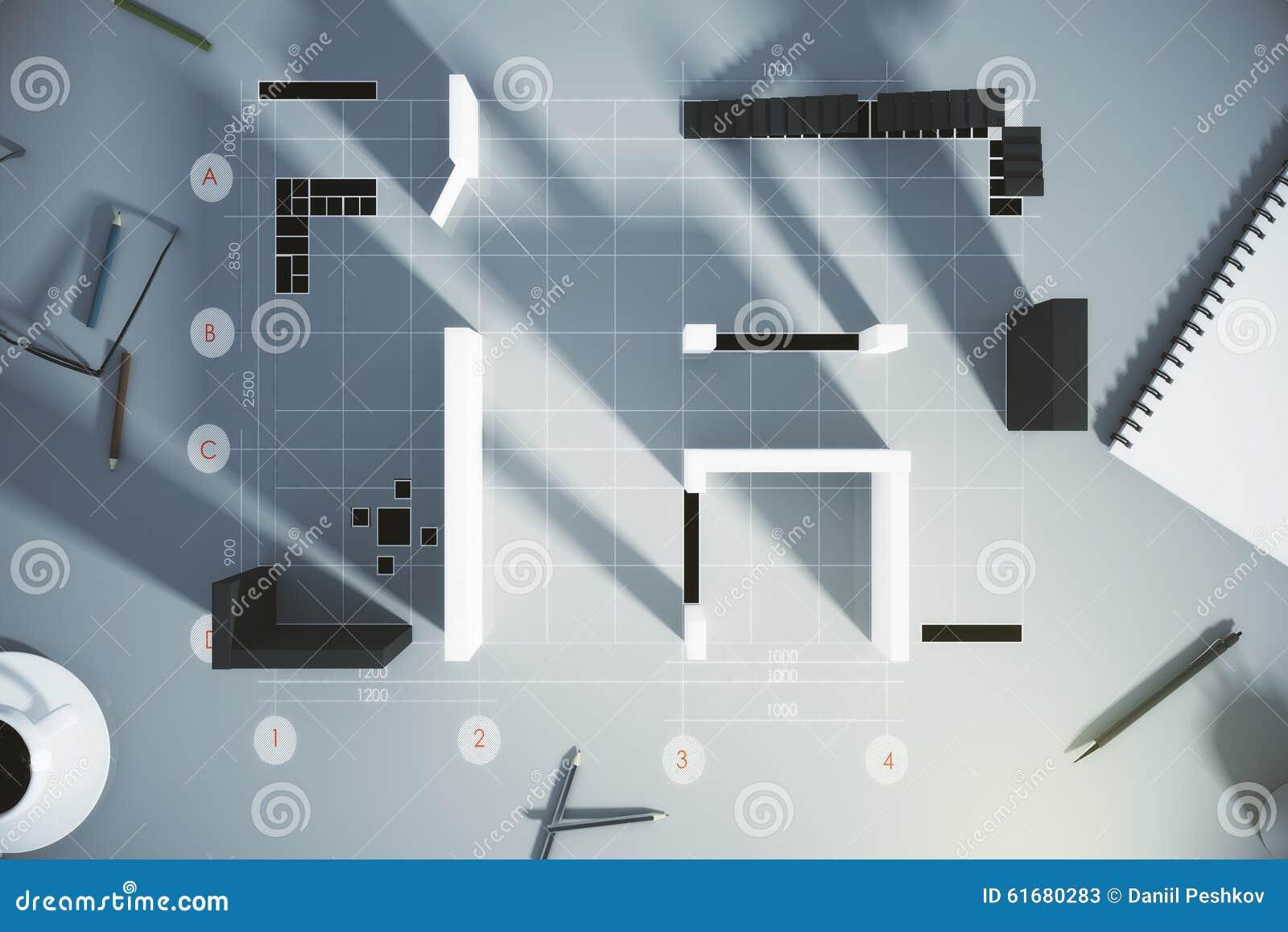 Bästa sikt på ritning av den nya lägenheten med 3d väggar, trappa ...