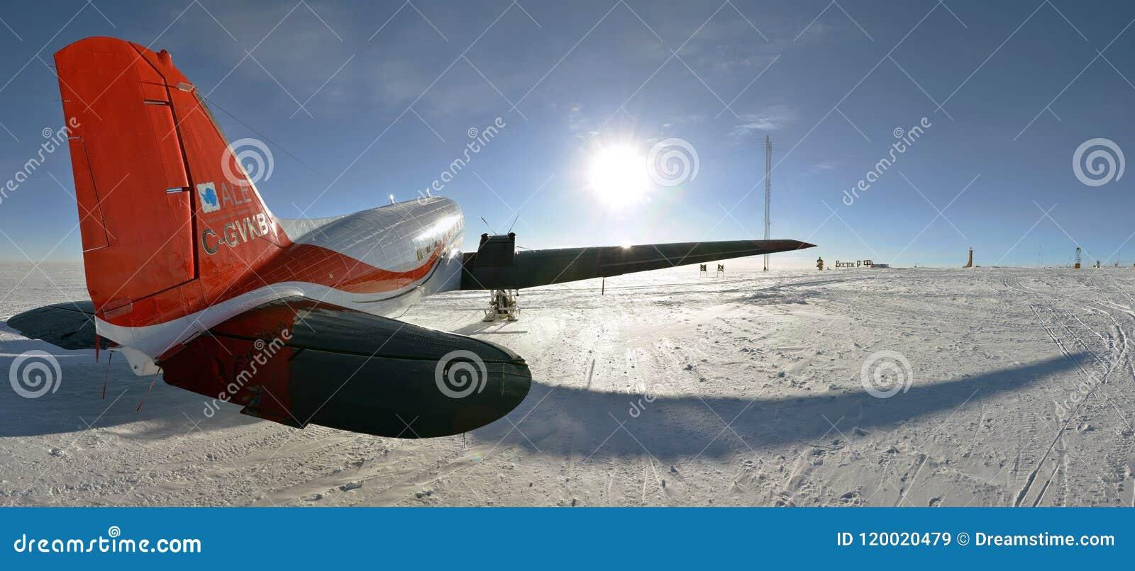 Aircraft BT-67 in Antarctica at Vostok Station