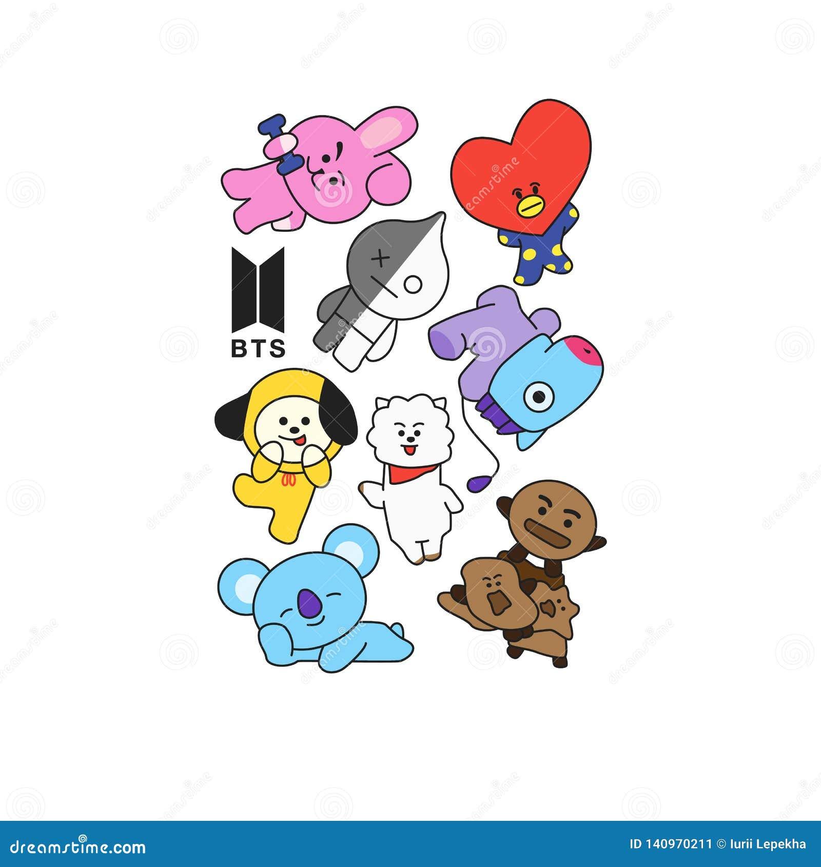 BTS - Южнокорейский диапазон мальчика Печать для футболок также вектор иллюстрации притяжки corel