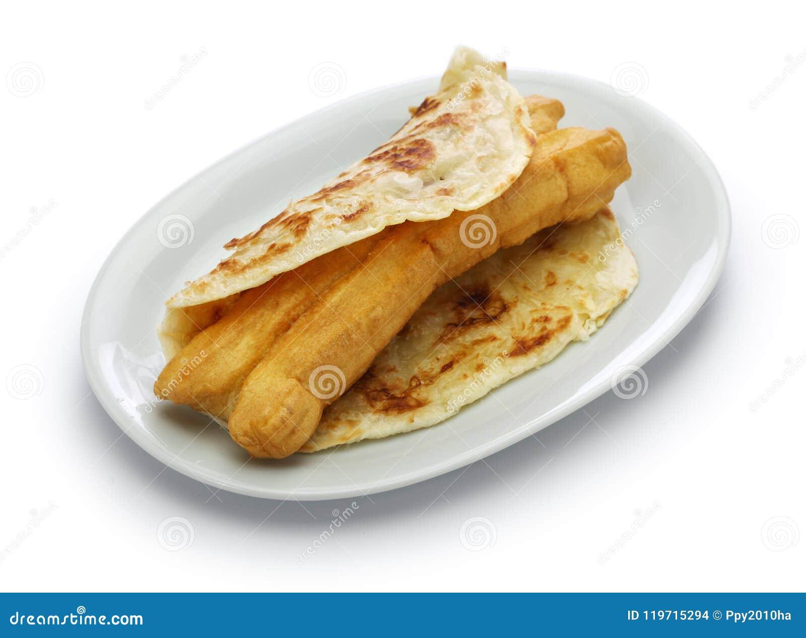 Buñuelo chino en el flatbread acodado, comida taiwanesa