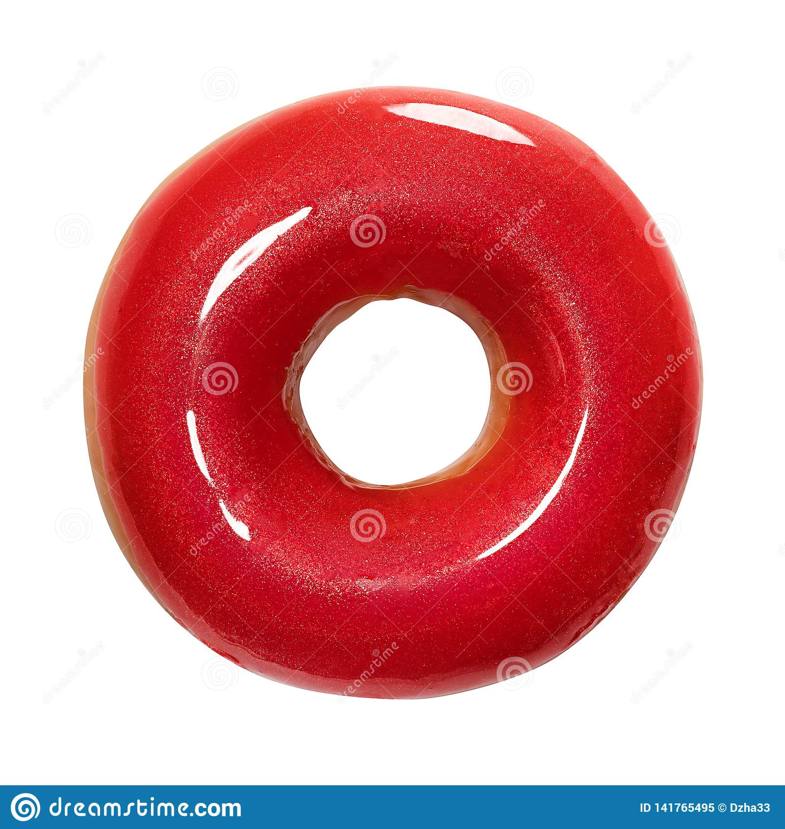 Buñuelo con el esmalte brillante rojo aislado en el fondo blanco Un buñuelo rojo redondo Front View Visión superior
