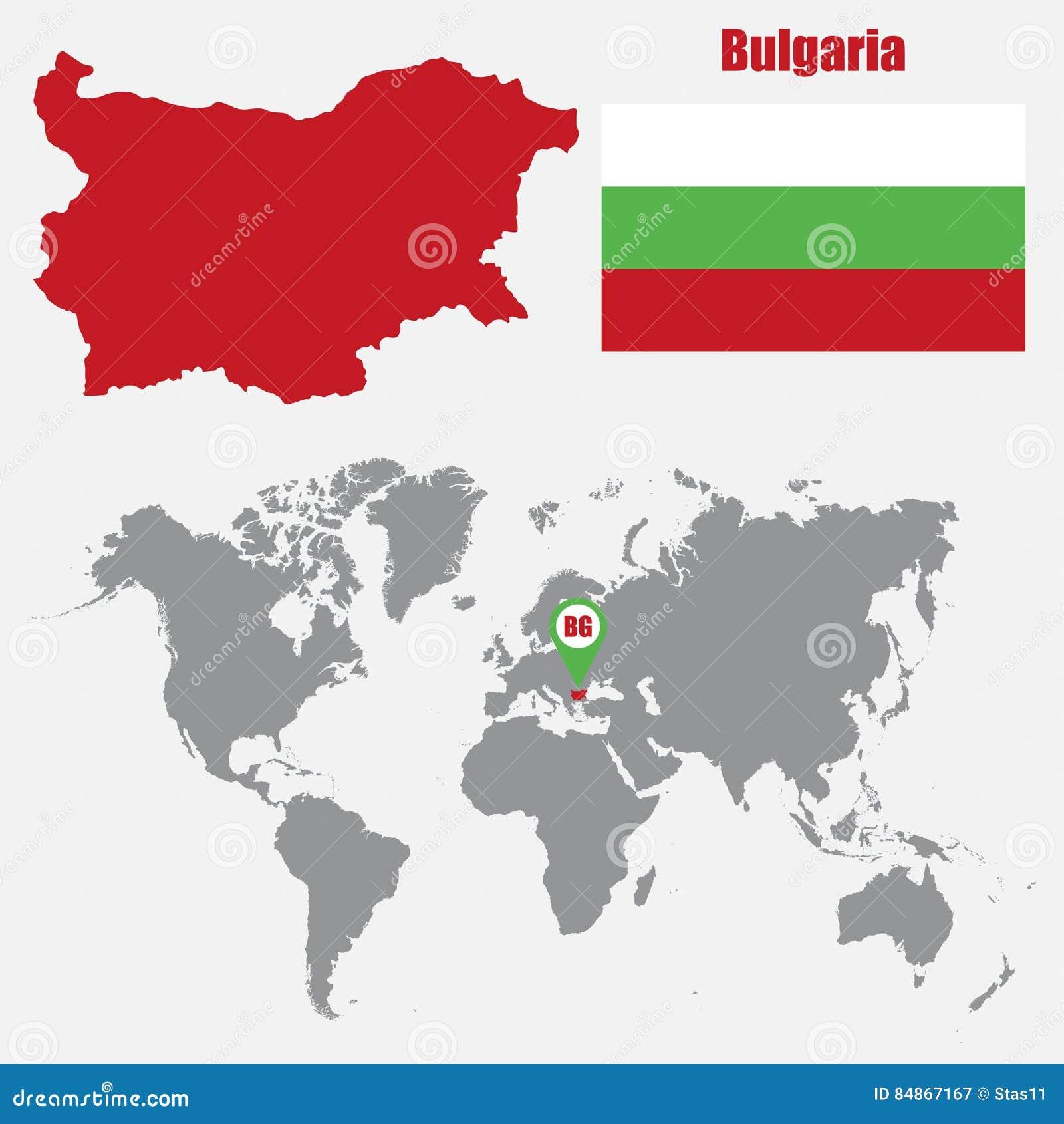 Karta Na Bulgaria.Bulgaria Mapa Na Swiatowej Mapie Z Flaga I Mapy Pointerem Rowniez