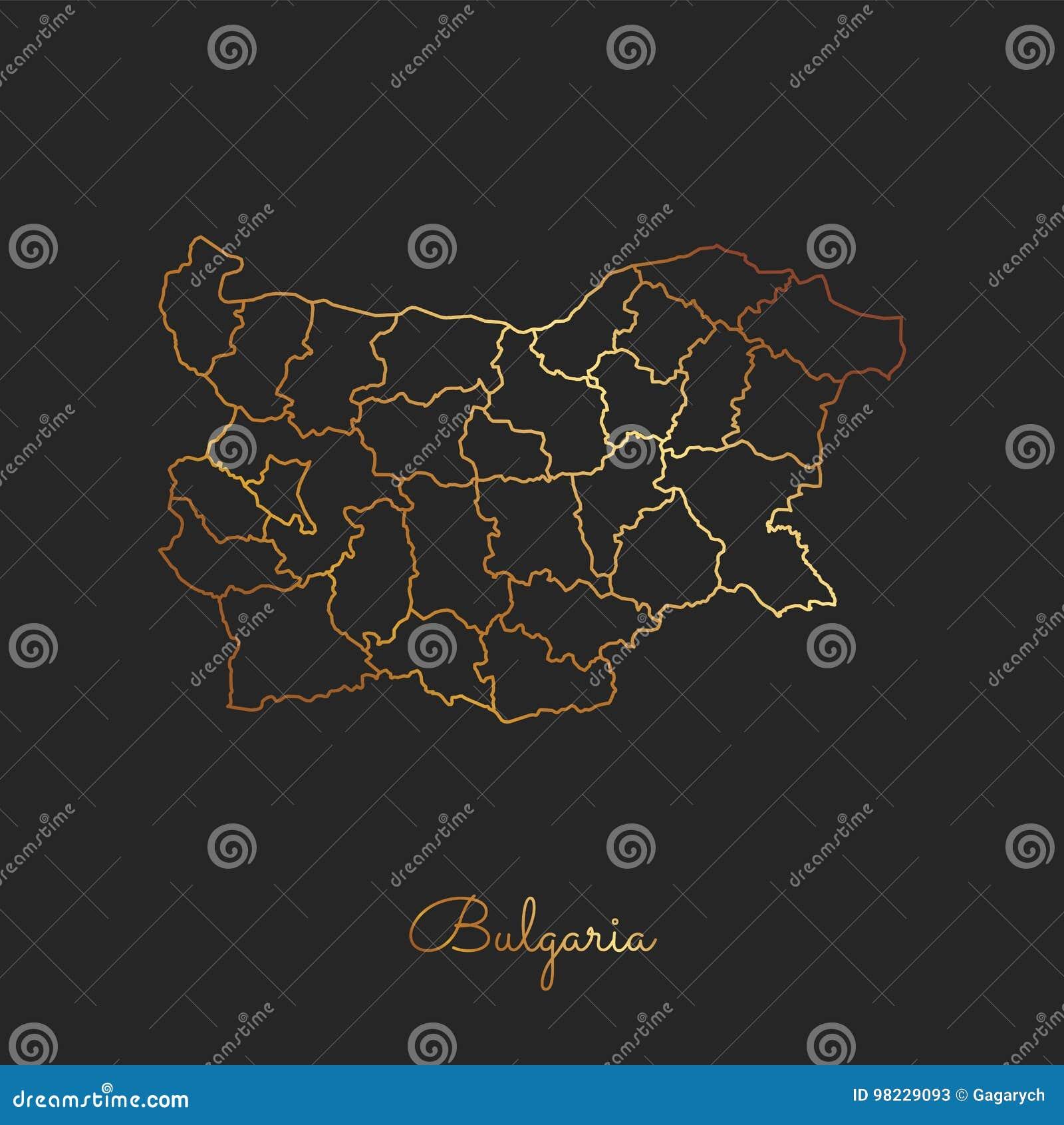 Bułgaria regionu mapa: złoty gradientowy kontur dalej