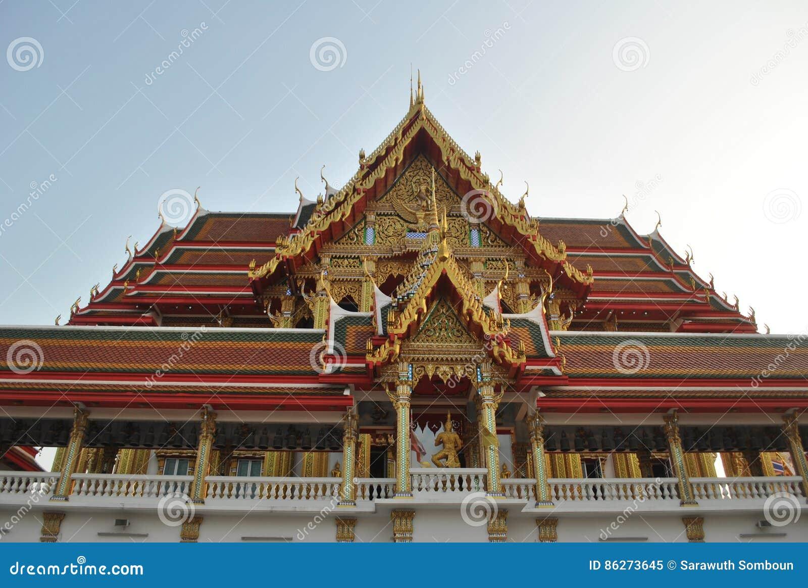 Buakwan nonthaburi Thailand för härlig buddistisk byggnadswat