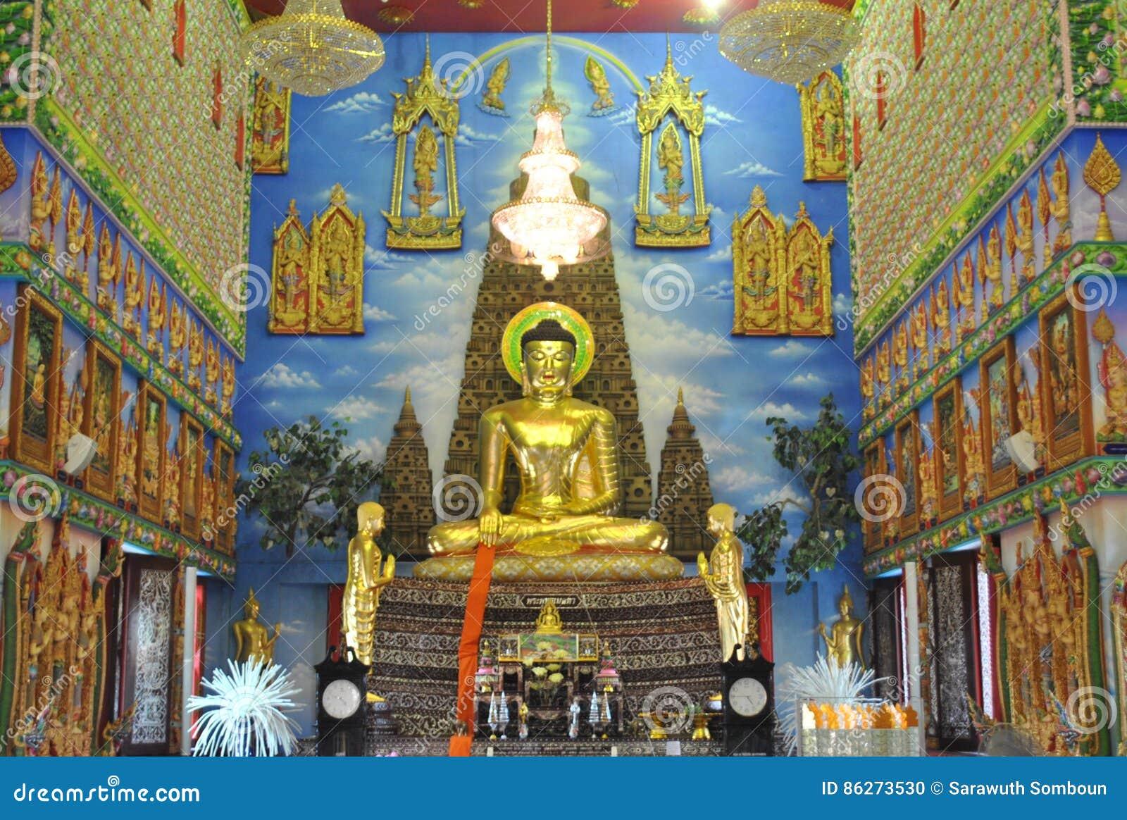 Buakwan nonthaburi Thailand för underbar buddistisk byggnadswat för inblick