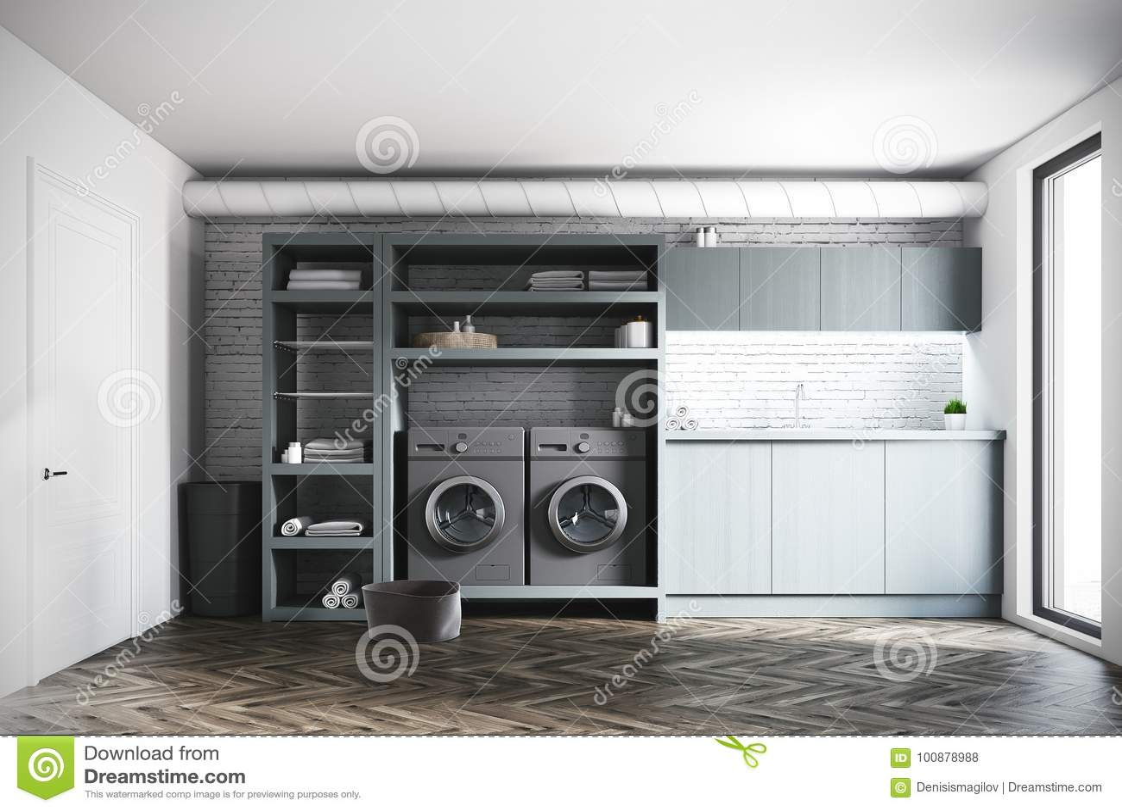 buanderie de brique machines laver grises porte illustration stock illustration du. Black Bedroom Furniture Sets. Home Design Ideas