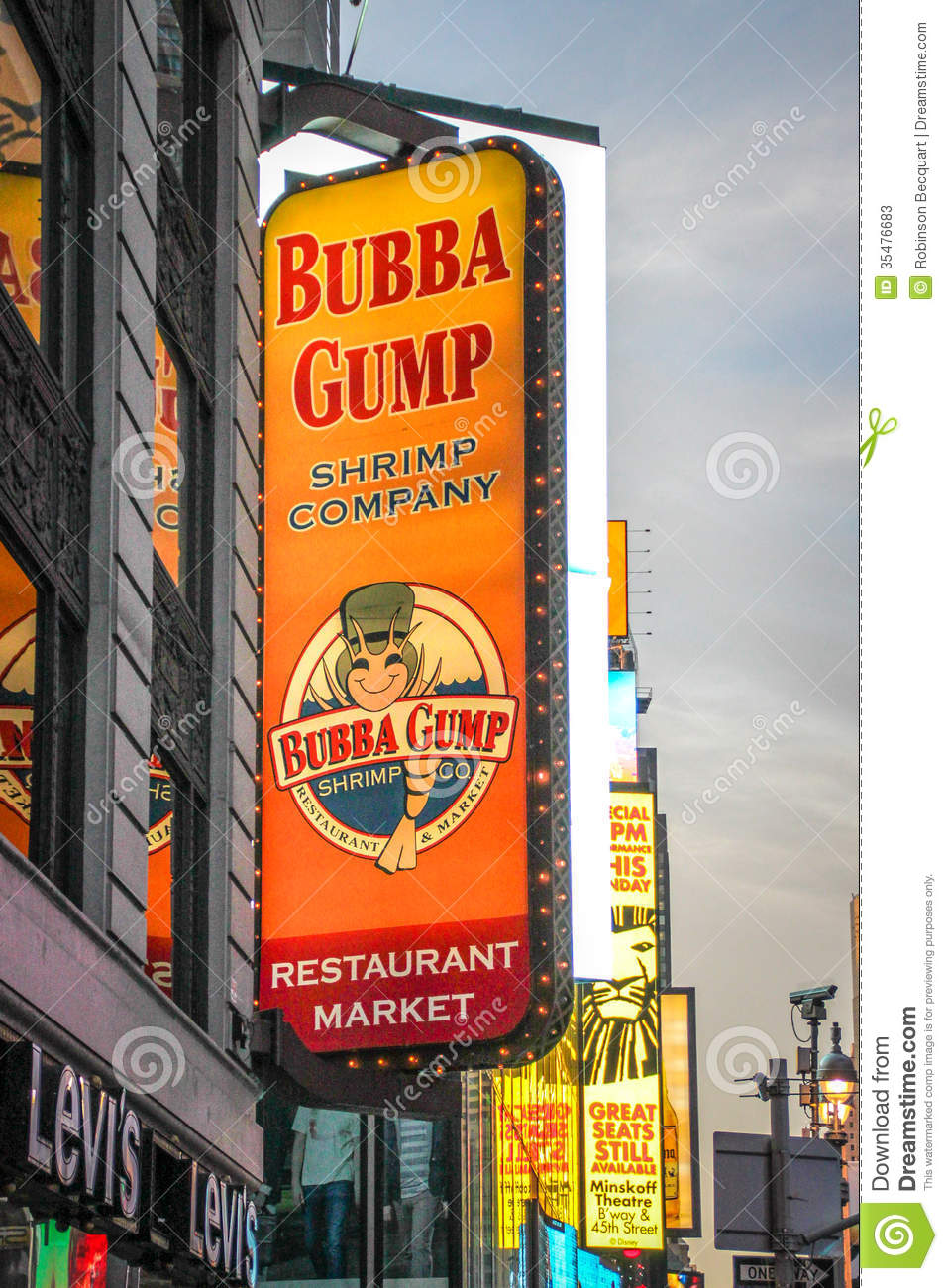 Stock Photos: Bubba Gump Restaurant Sign At Times Square