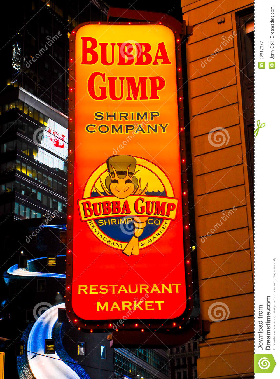 bubba gump shrimp company  times square  nyc editorial photography