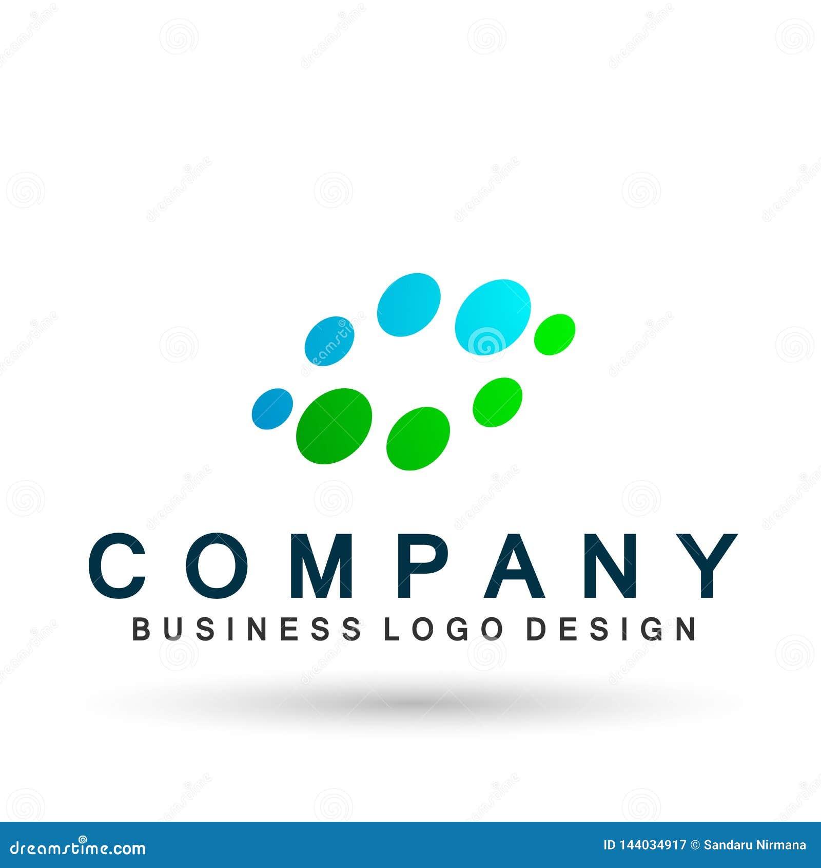 Bubbla logoen, den färgrika cirkelbakgrundslogoen för medicin, logo för droghälsovårdbegrepp på vit bakgrund