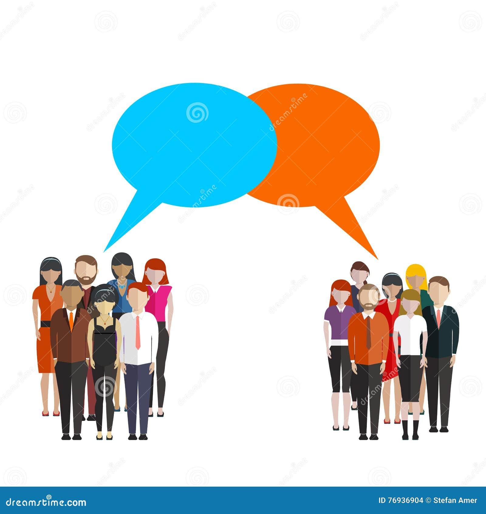 Bubblar den plana illustrationen för opinionsundersökningen av två grupp människor och anförande dem emellan