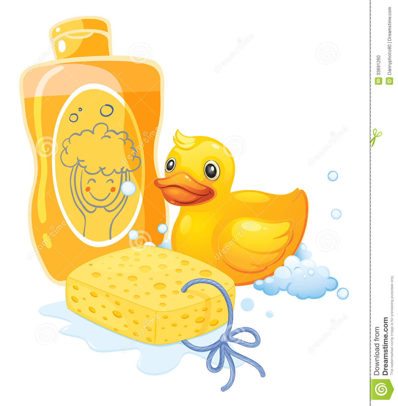 A Bubble Bath With A Sponge And A Toy Duck Stock Photo