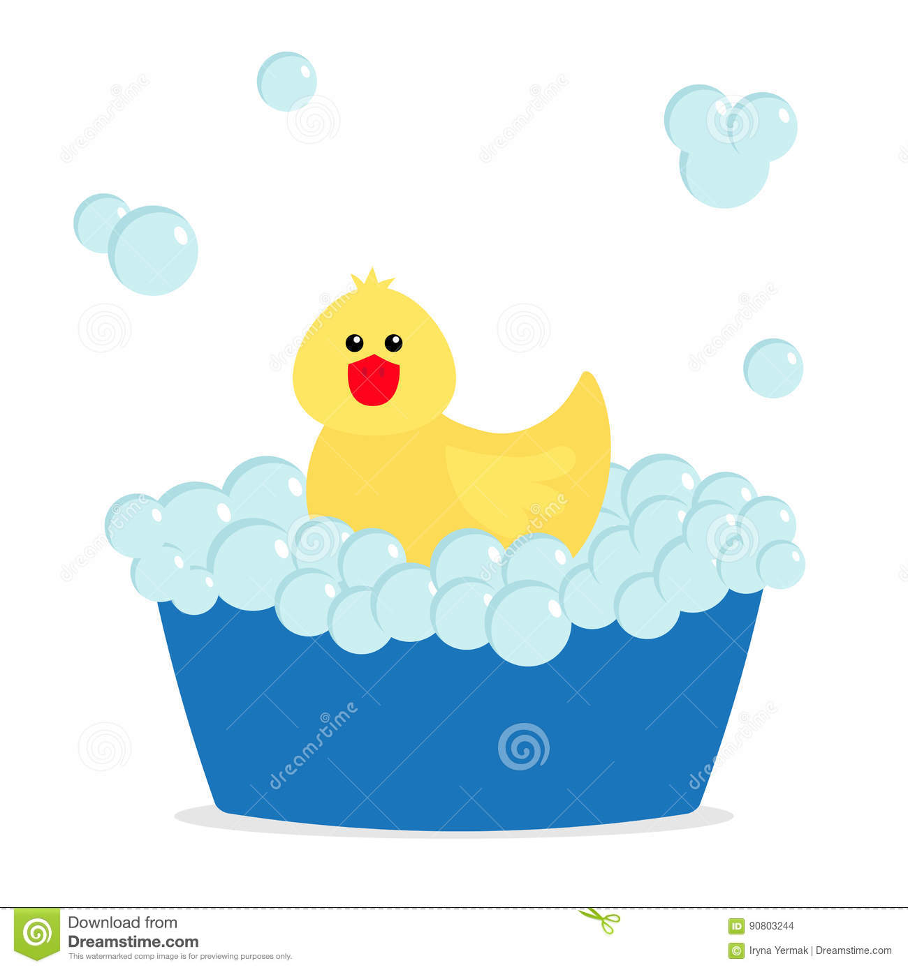 Bath Bubbles Cartoon Free Vector Graphic On Pixabay: Yellow Duck In Bathtub With Bubbles Vector Illustration