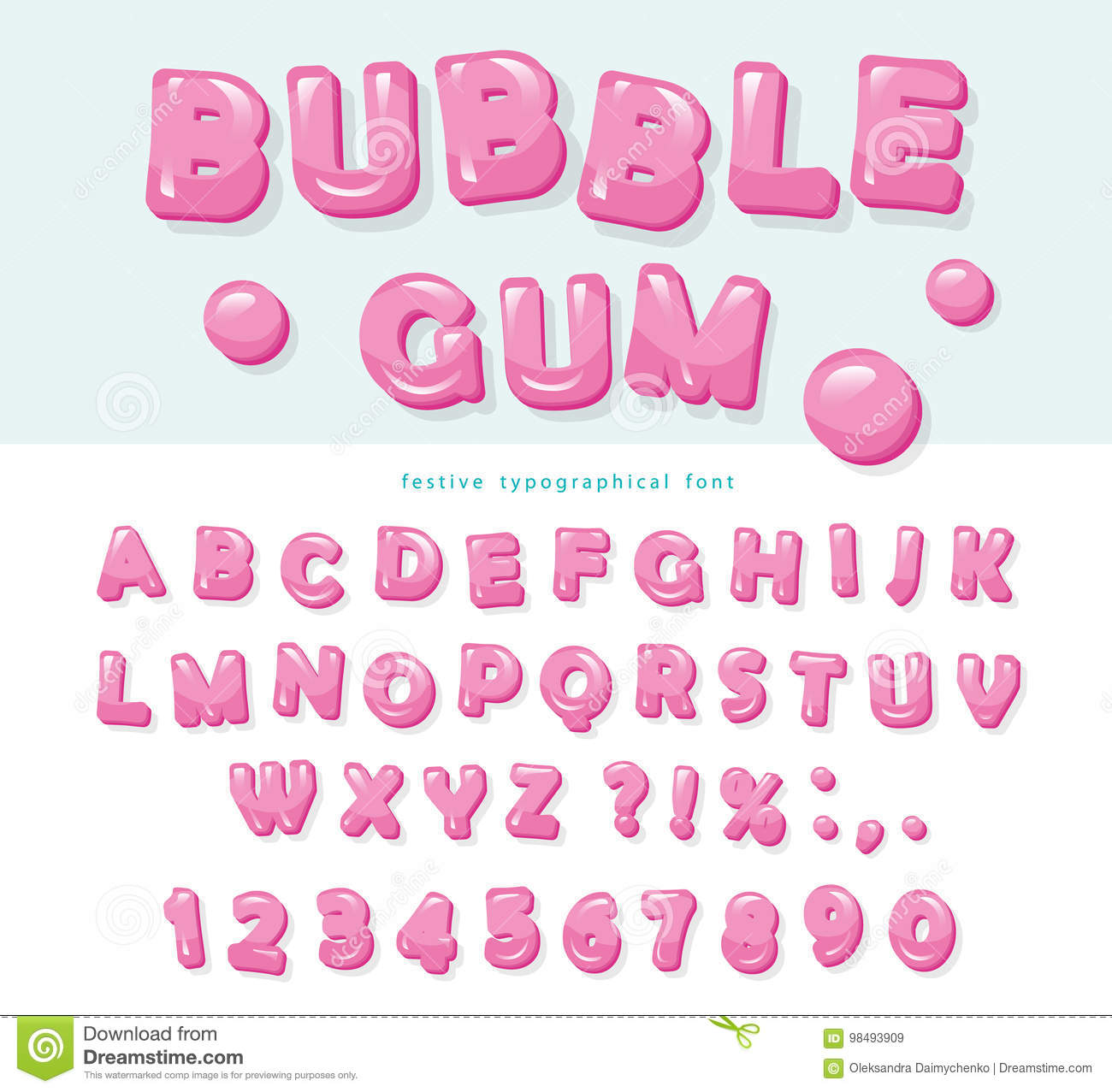 Bubble Gum Font Design Sweet Abc Letters And Numbers Stock Vector