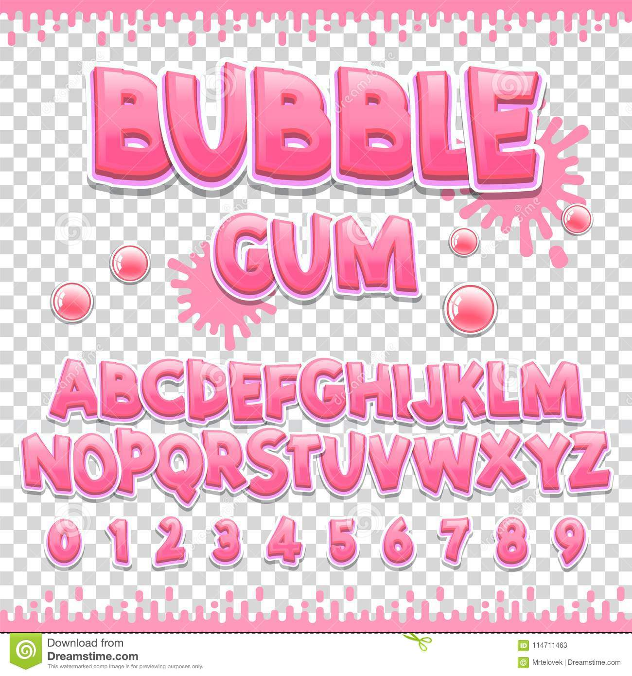 Bubble Gum Latin Font Design Sweet Abc Letters And Numbers Cute