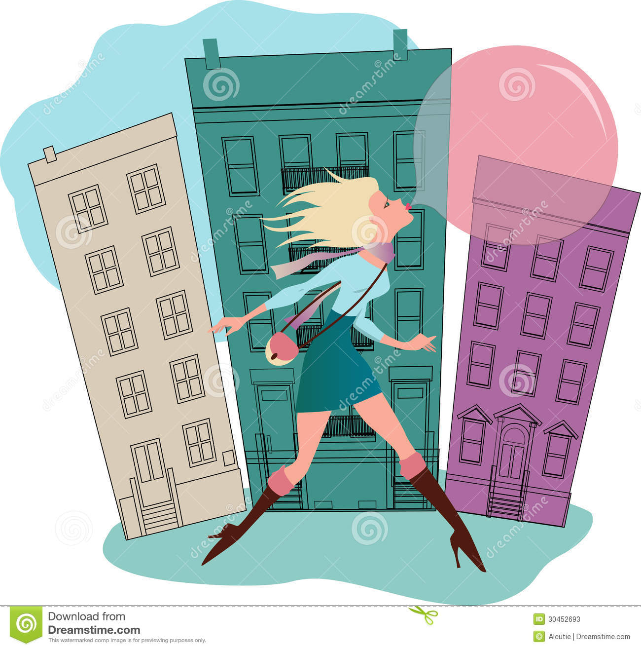 Young Woman Running Down The Street Behind Huge Gum Bubble
