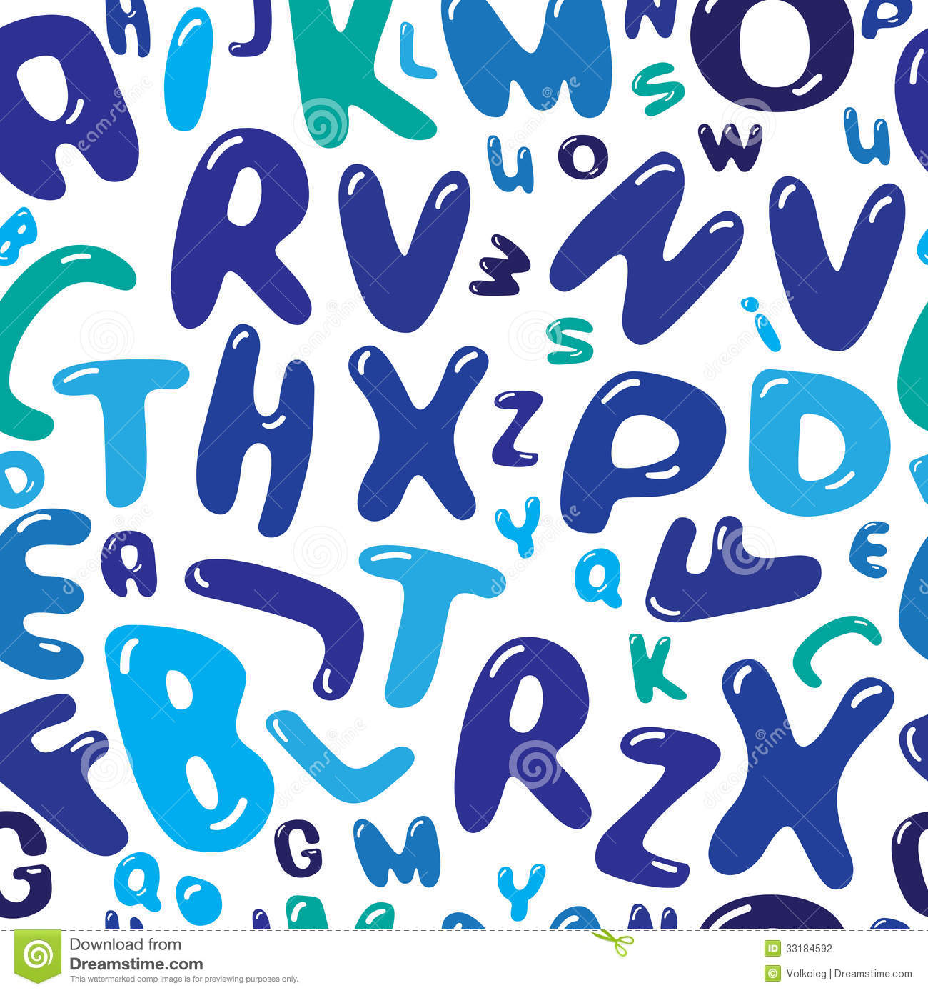 Bubble Letters Illustration Seamless Vector Patter Stock