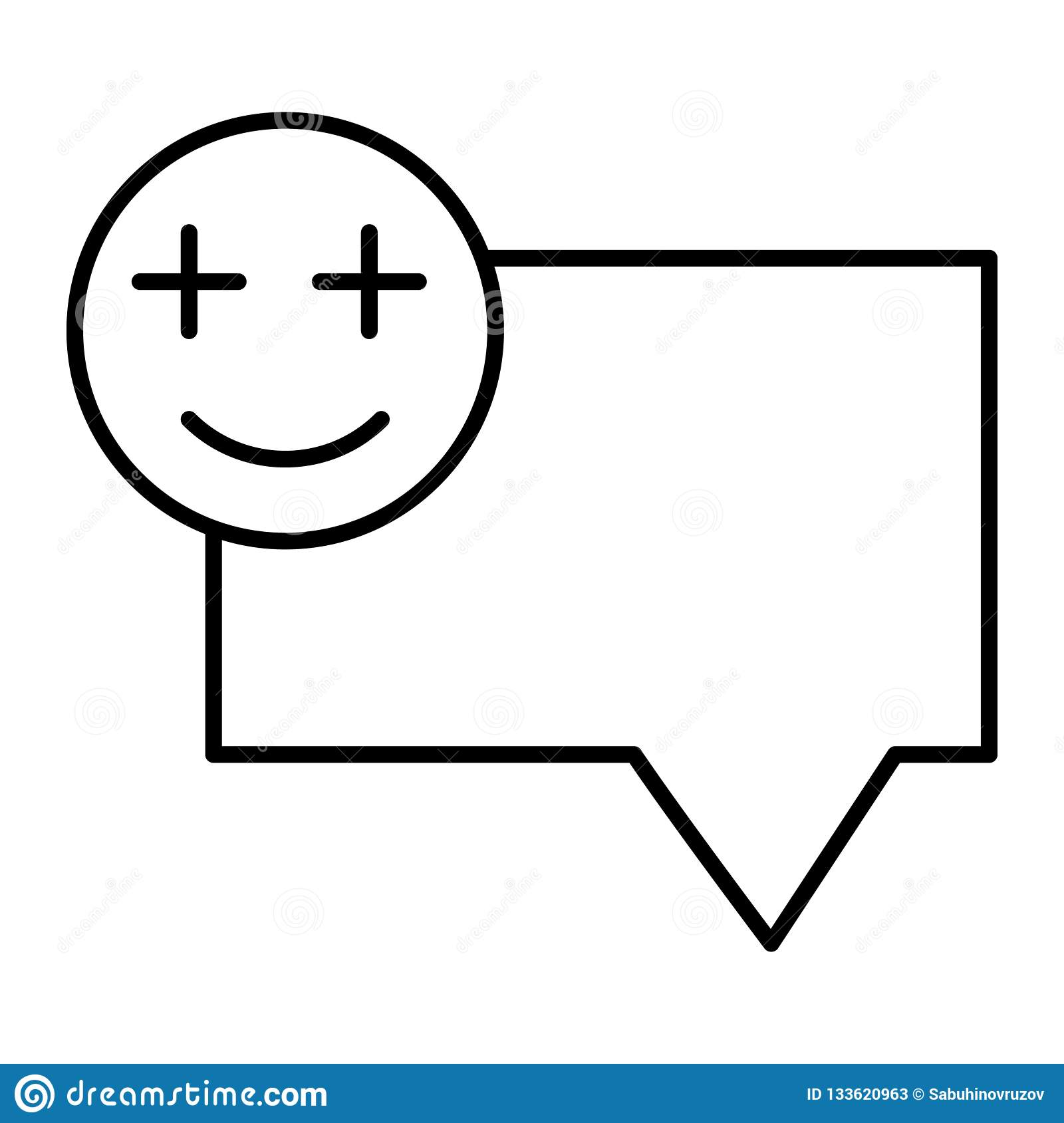 Bubble Message Chat With Smile Emoji Thin Line Icon  Speech Bubble