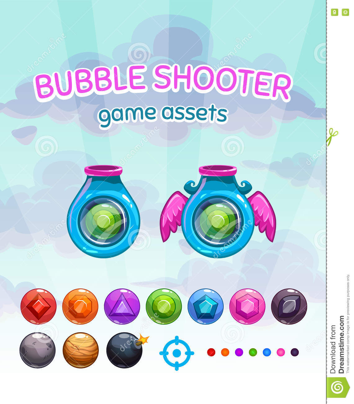 Bubble shooter game assets stock vector  Illustration of round